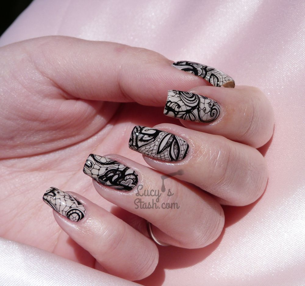 Racy lacy nails black stamped lace nail art barry m do it like racy lacy nails black stamped lace nail art prinsesfo Image collections