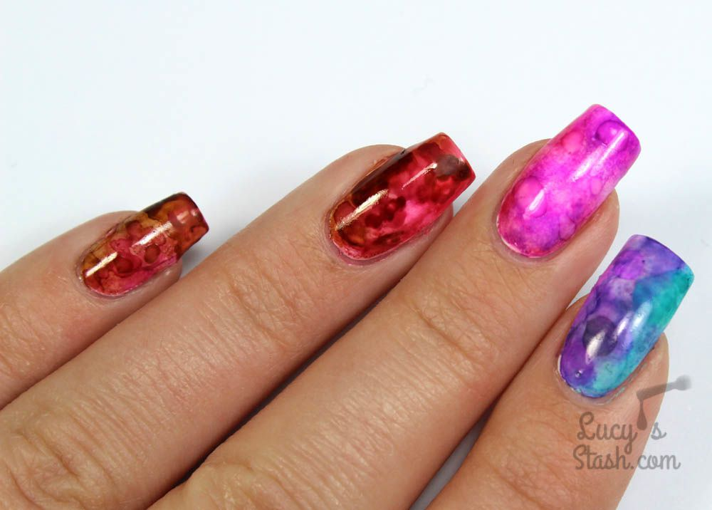 Alcohol Ink Gradient Marble Nail Art Tutorial Lucys Stash