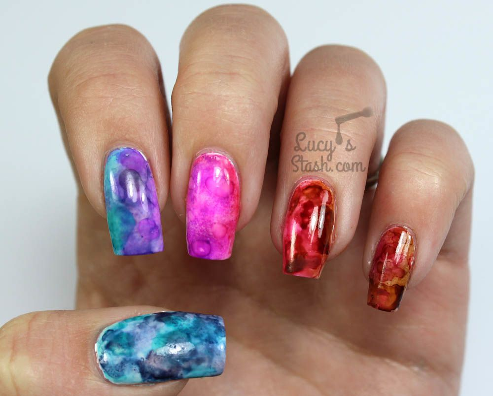 Alcohol Ink Gradient Marble Nail Art & Tutorial - Lucy\'s Stash