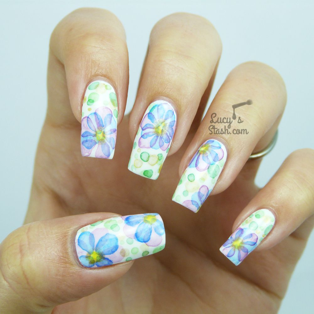 Watercolour Flower Nail Art ♥
