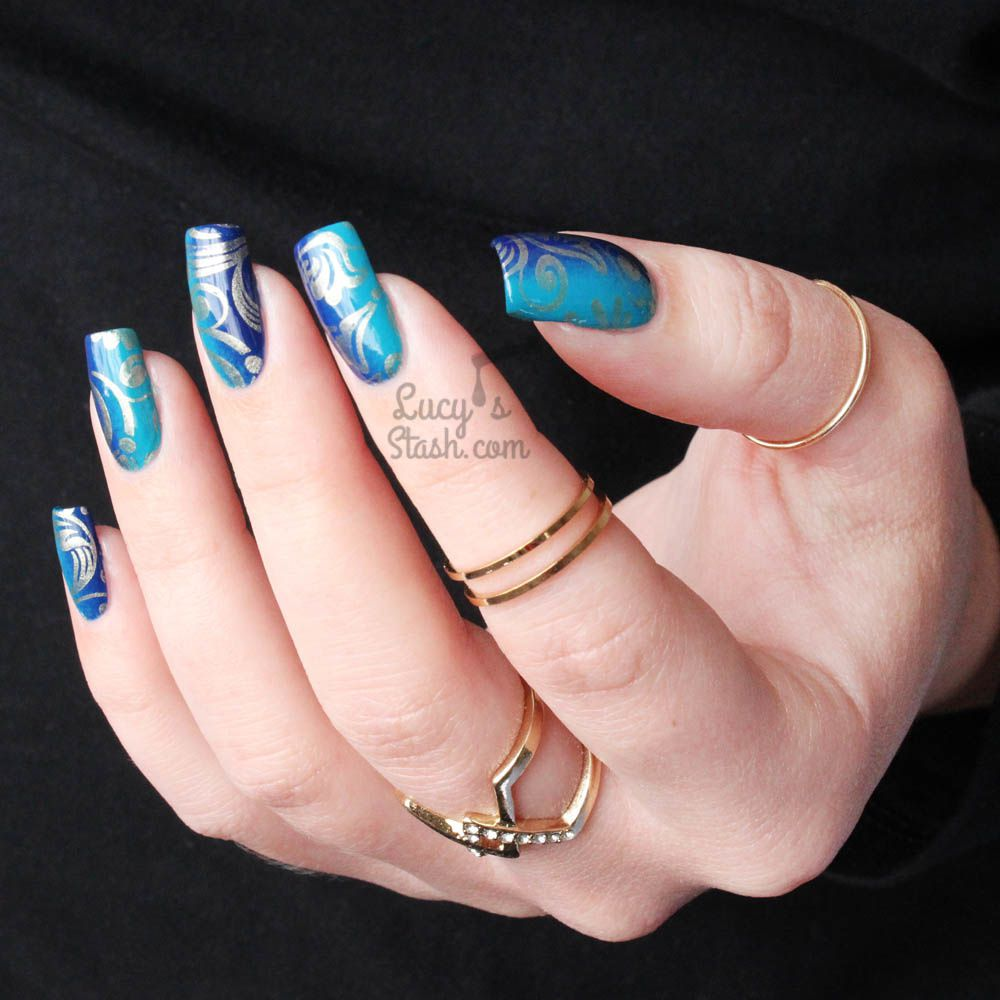 Blue Vertical Gradient Nail Art & Pueen Lace Blossom Plate Review