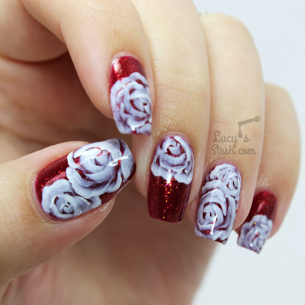White Roses Nail Art over SpaRitual Artisan - Lucy's Stash