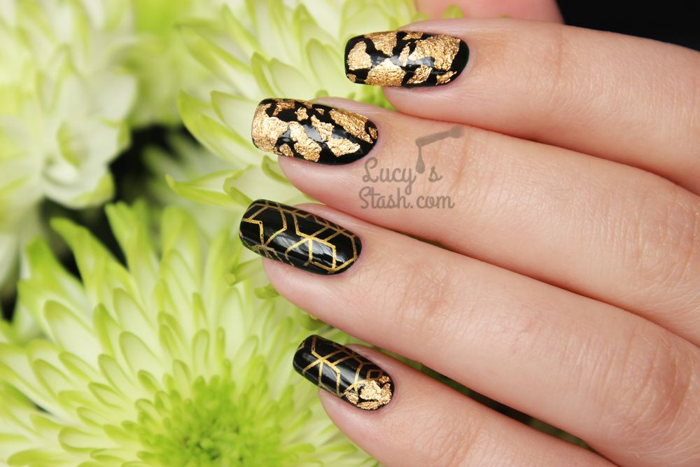 Going for gold! Autumnal gold &amp&#x3B; green nail art manicure