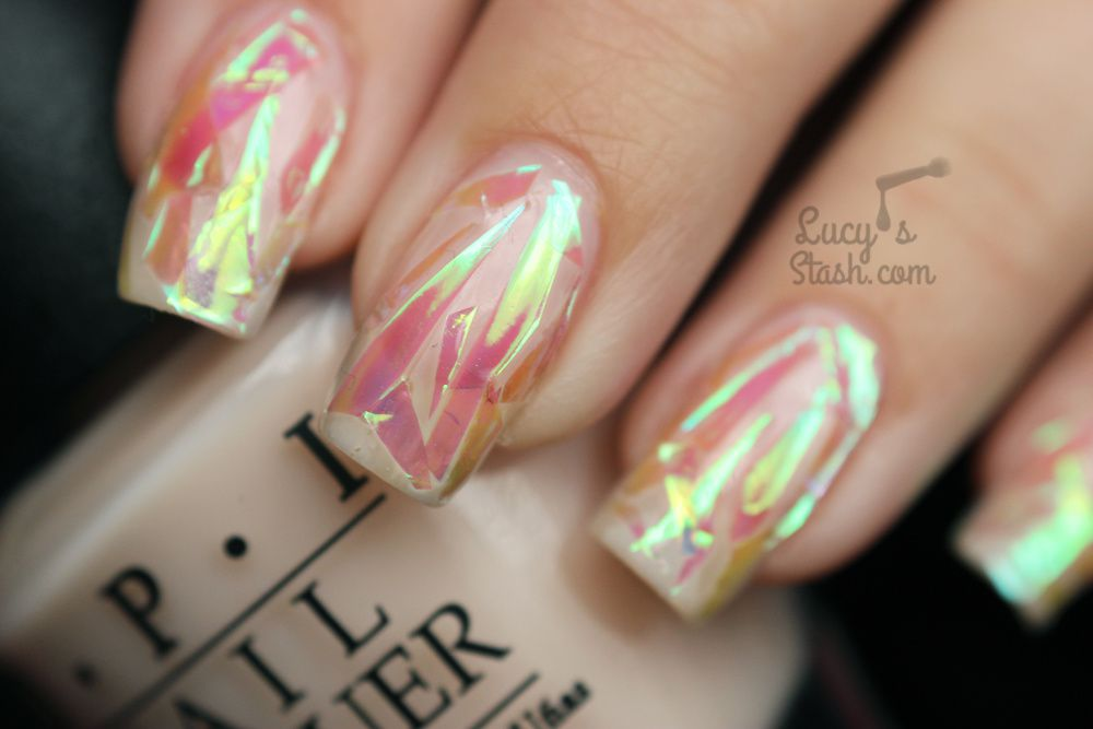 Pink Shattered Glass Nails With Tutorial Lucys Stash