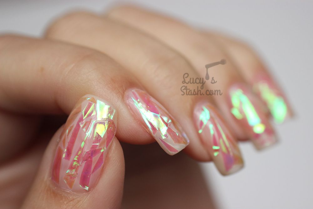 Pink Shattered Glass Nails With Tutorial Lucy S Stash