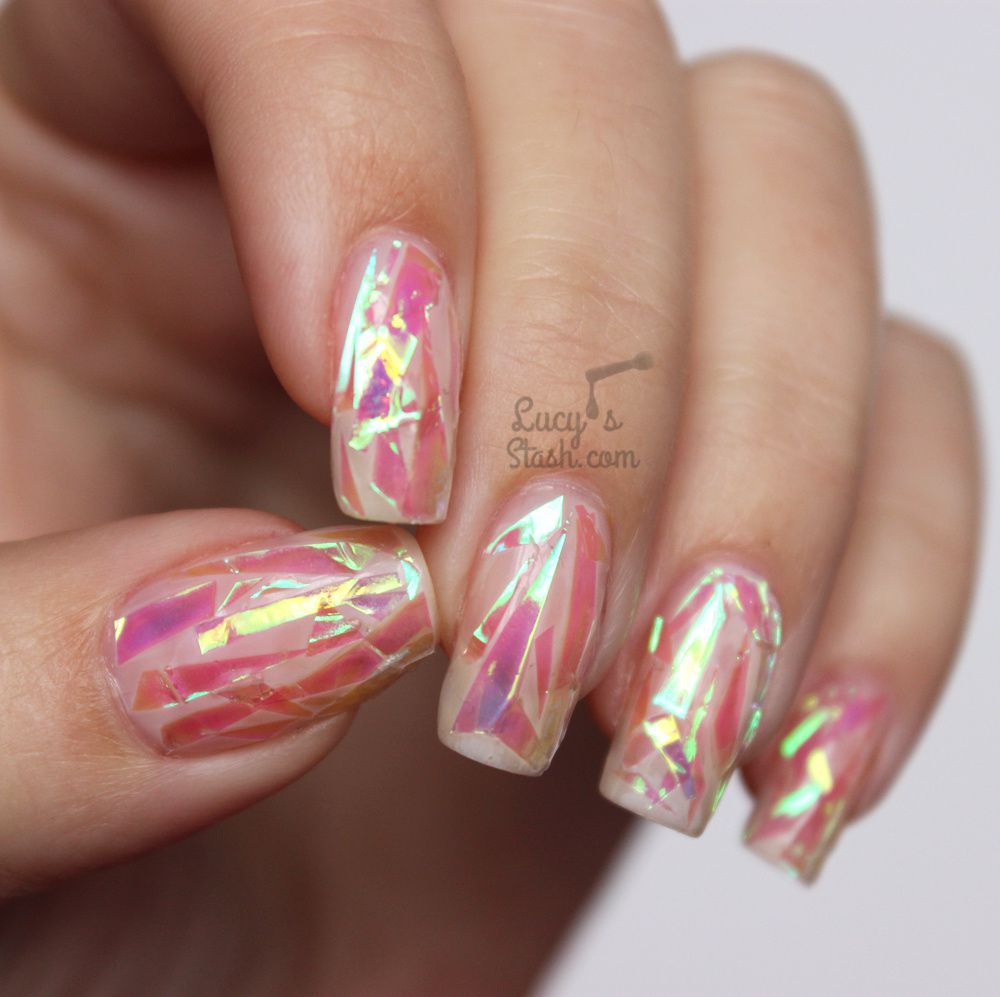 Pink Shattered Glass Nails with TUTORIAL - Lucy\'s Stash