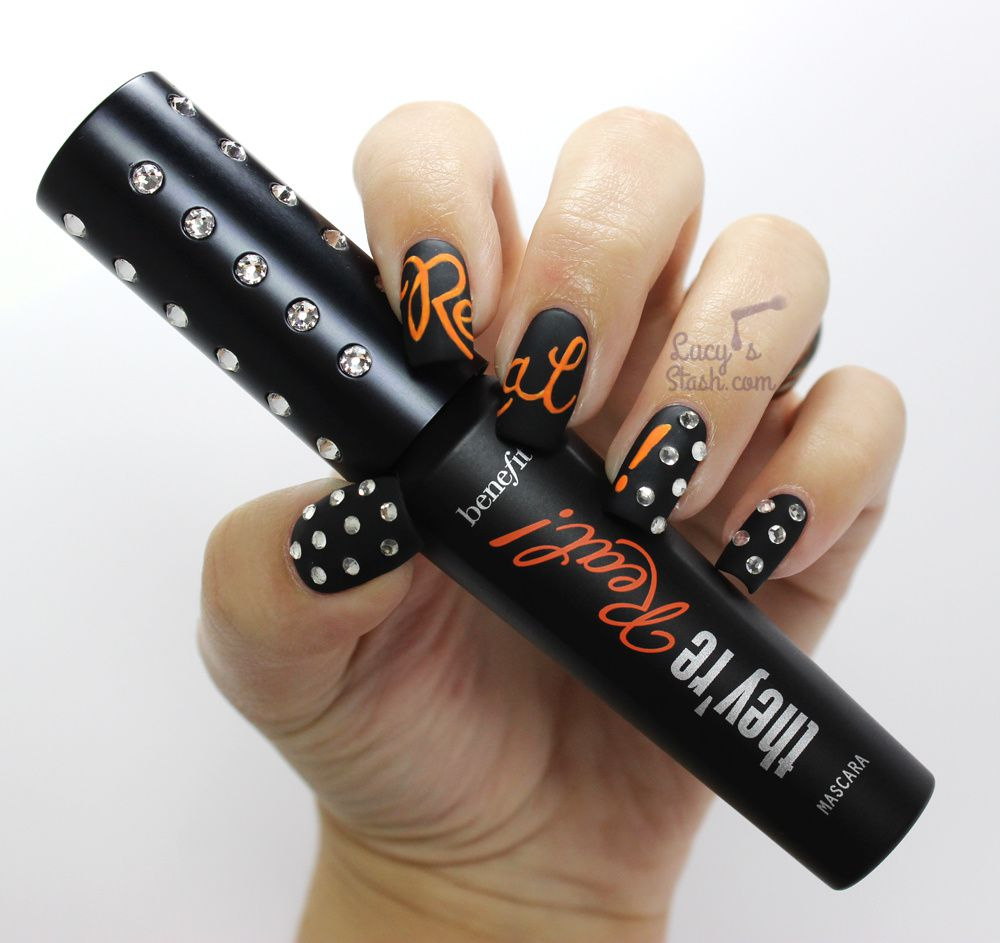 Nail Art Manicure Inspired by Benefit They're Real! Swarovski Limited Edition + TUTORIAL