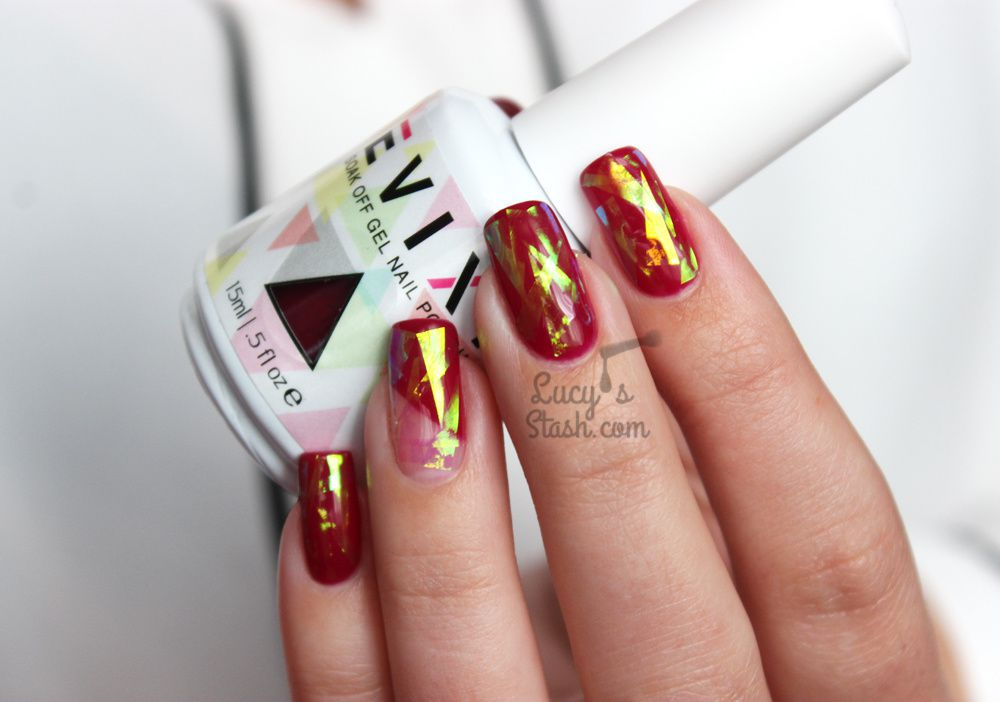 Shattered Glass &amp&#x3B; Negative Space Gel Polish Nails with Evixi Gel