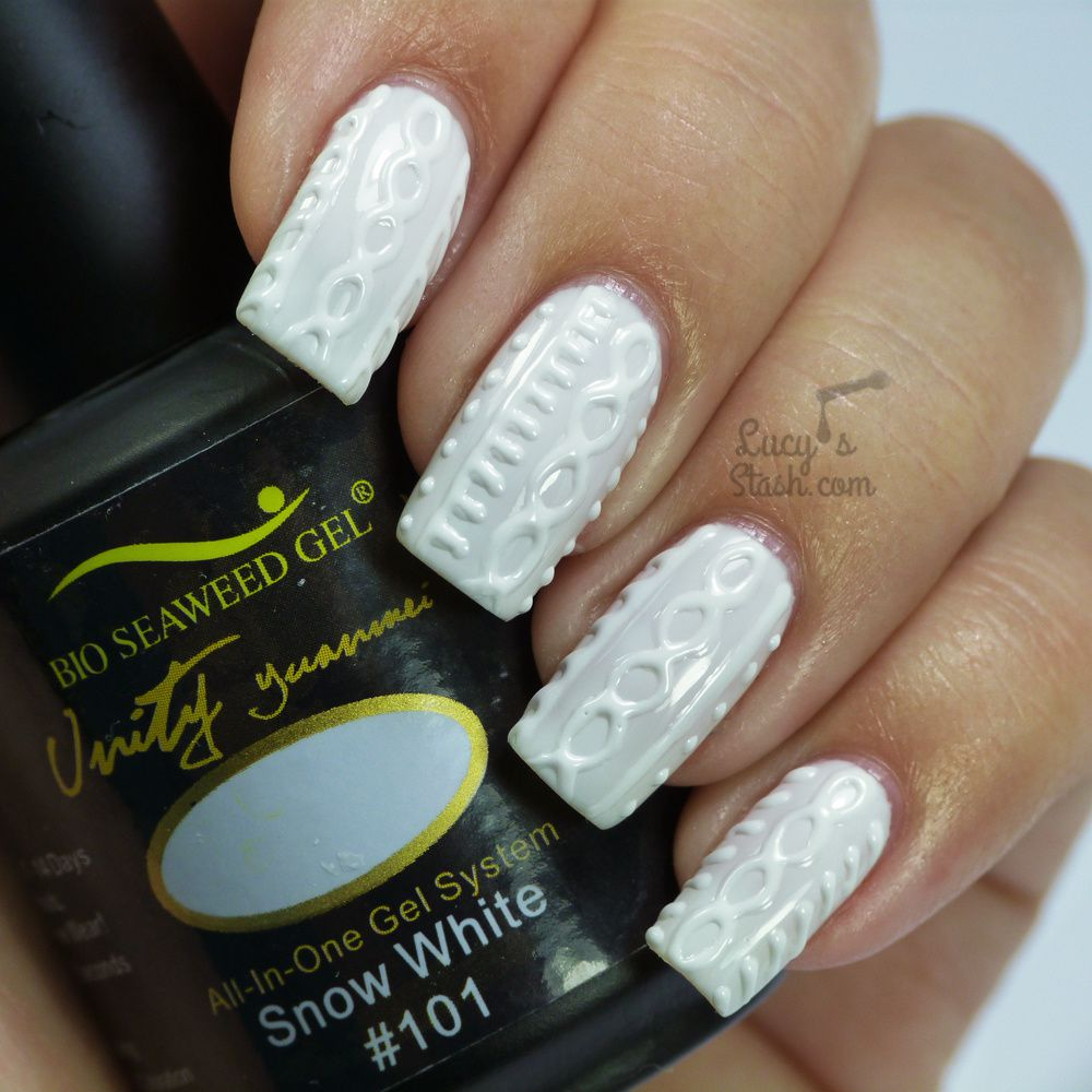 White Jumper Nails with Bio Seaweed Gel | Cable Knit Nail Art
