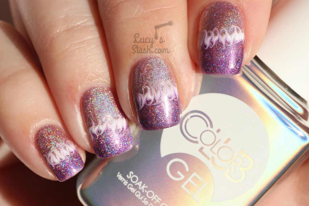 Holographic Marble Nail Art With Color Club Gel Polish Lucys Stash