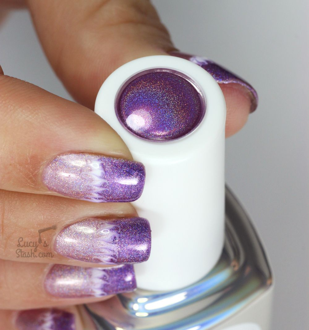 Holographic Marble Nail Art With
