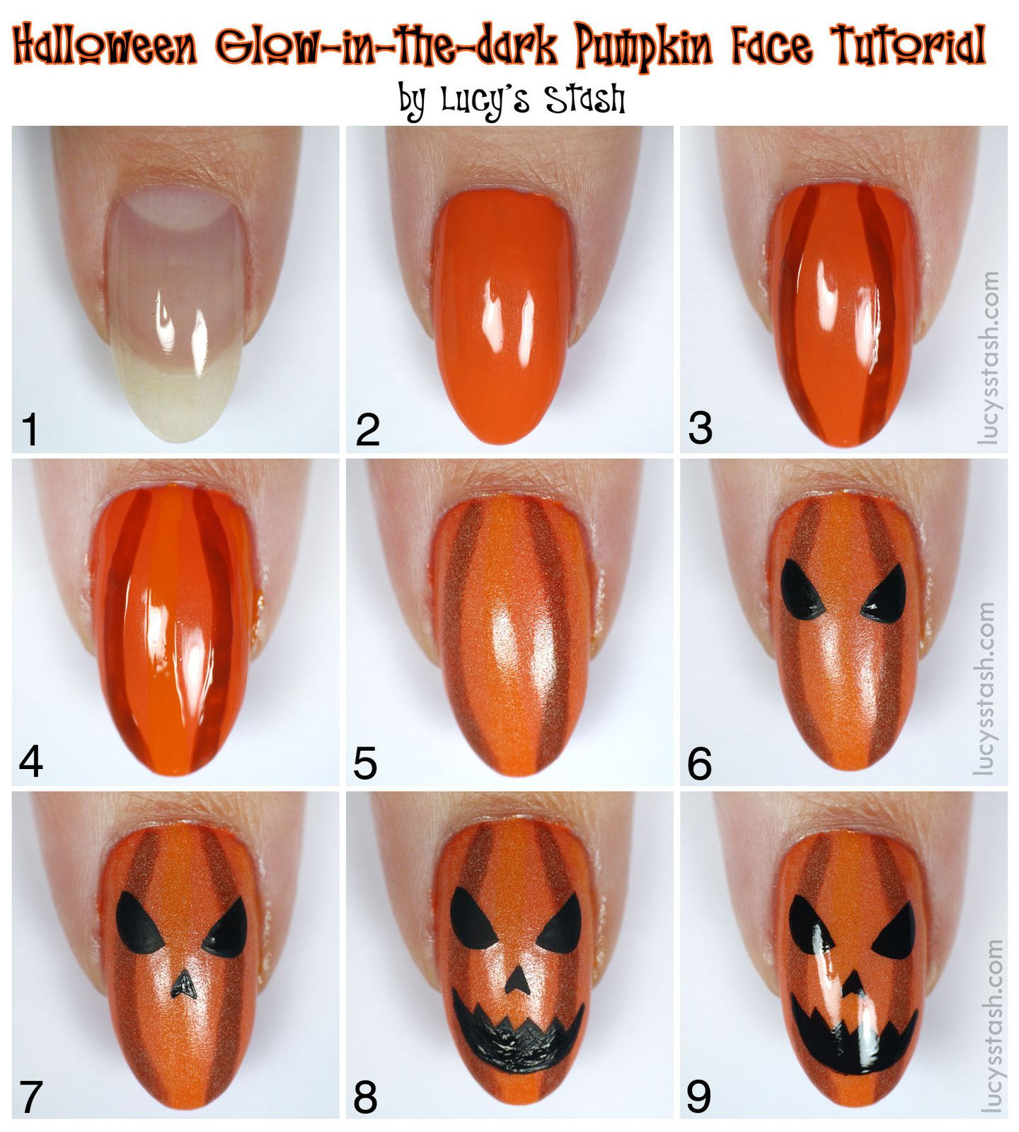 Halloween Glow-in-the-dark Pumpkin Face Nail Art + TUTORIAL