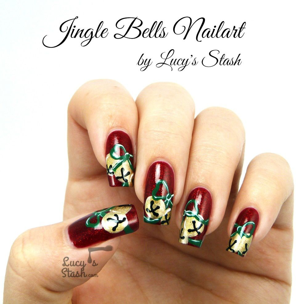 Jingle bells nail art with tutorials lucys stash jingle bells nail art with tutorials prinsesfo Image collections