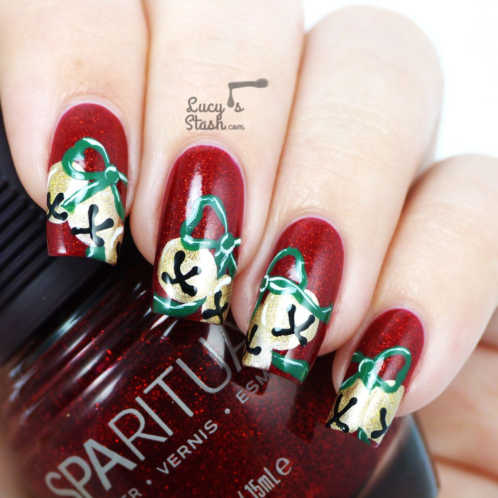 Christmas Nail Designs Tutorial: Jingle Bells Nail Art With Tutorials
