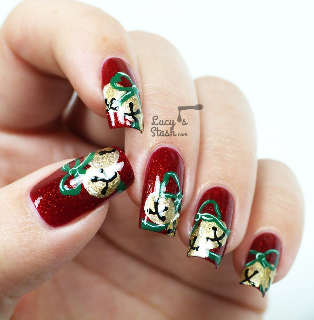 Jingle Bells Nail Art with Tutorials