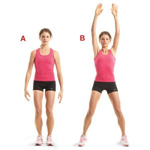 1)jumping jacks,2) 10 squat,3) 10 side lunges à chaque jambe,4)20 inner tigh lift,à chaque jambe 5) 50 russian twist,6) 10 jack knife sit up,7) 30 bicycle,8) 10 oblique crunches à chaque coté,9) 30 secondes high knees, )