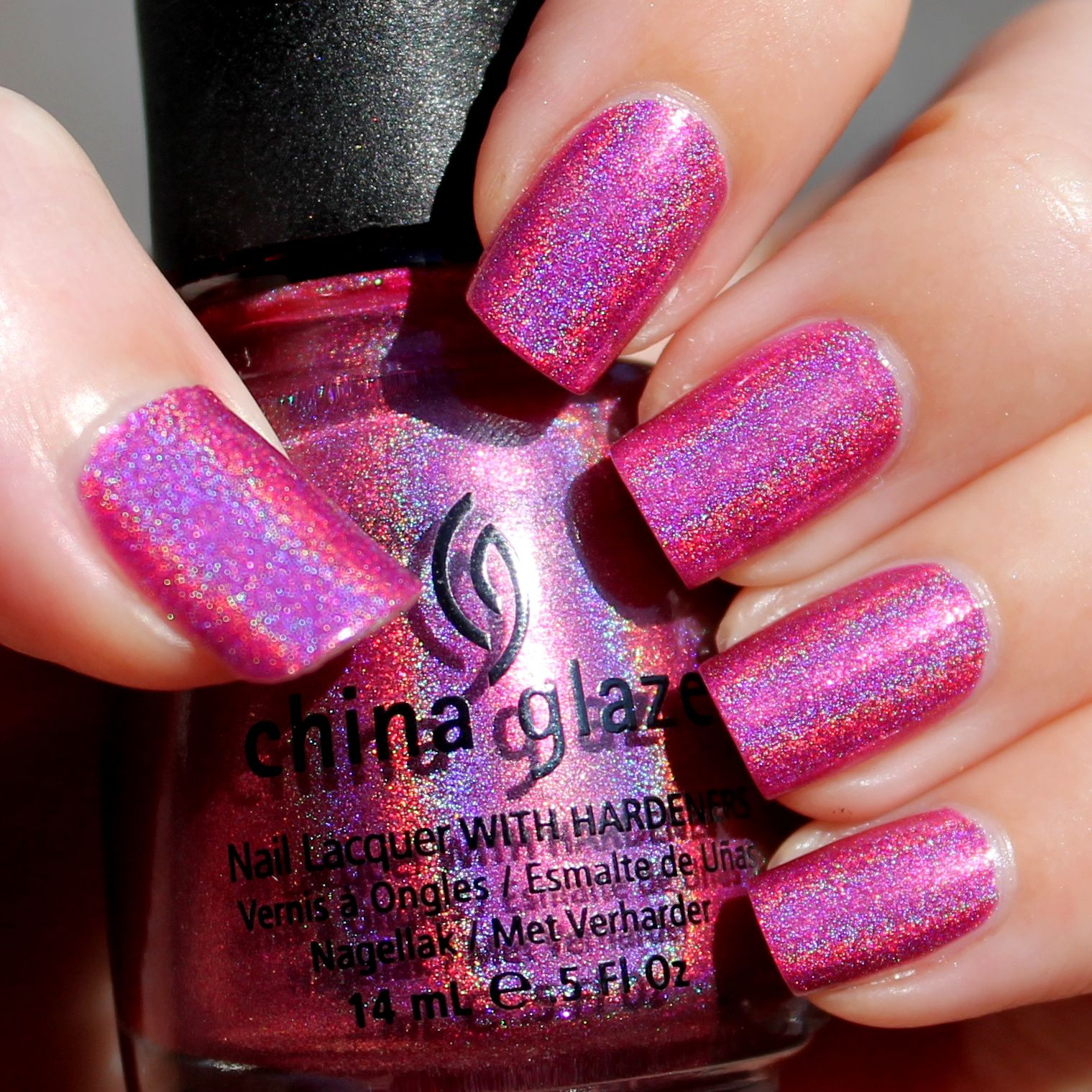 Duri Cosmetics Rejuvacote  / Revlon Quick dry base coat / China Glaze Franken Polish 108 Degrees Holographic / Poshe Top Coat