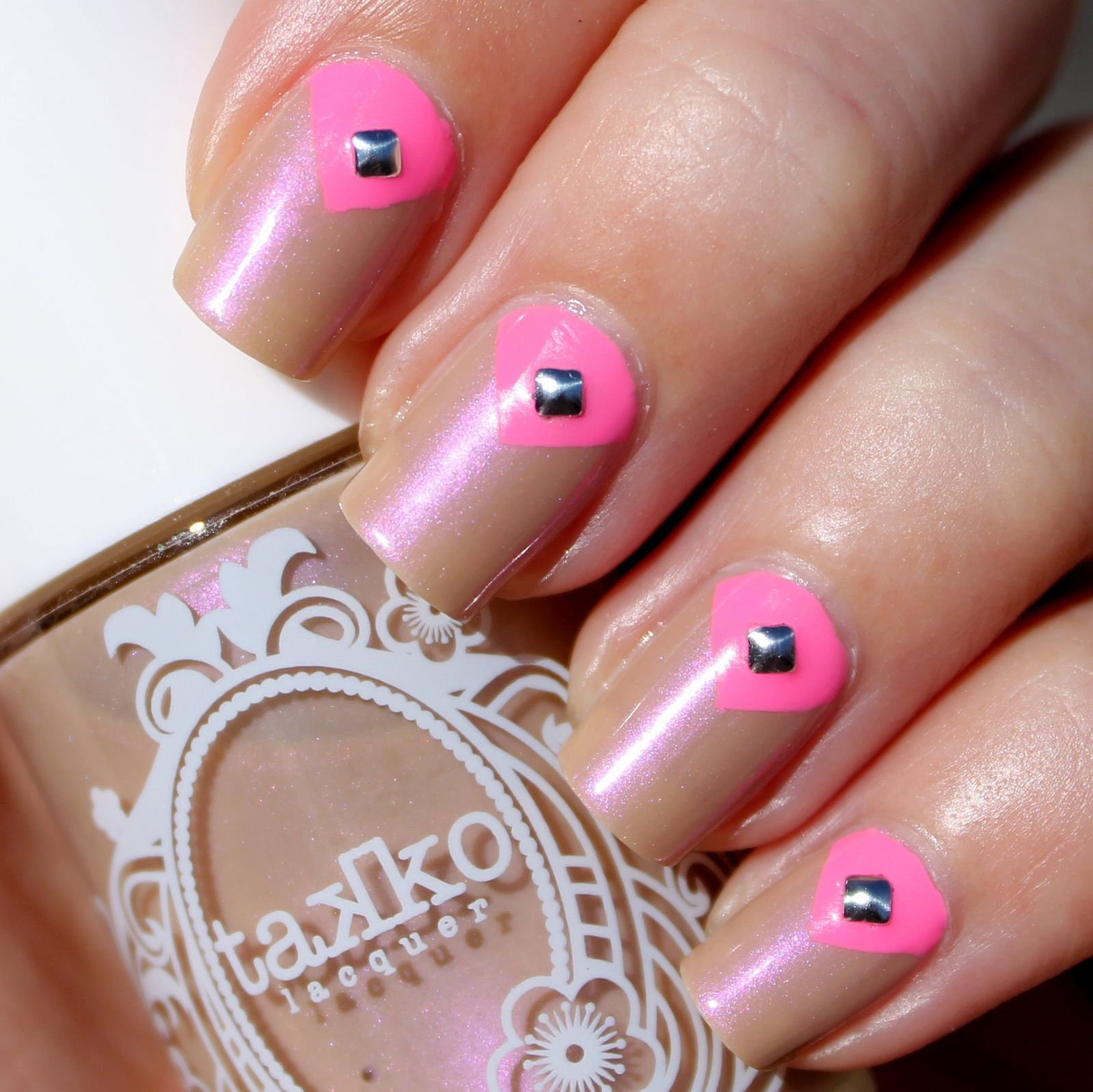 Revlon Quick dry base coat / Takko Lacquer Blushing Nude / PIXI Fluoro Flamingo & tape / Born Pretty Store Studs / Poshe Top Coat