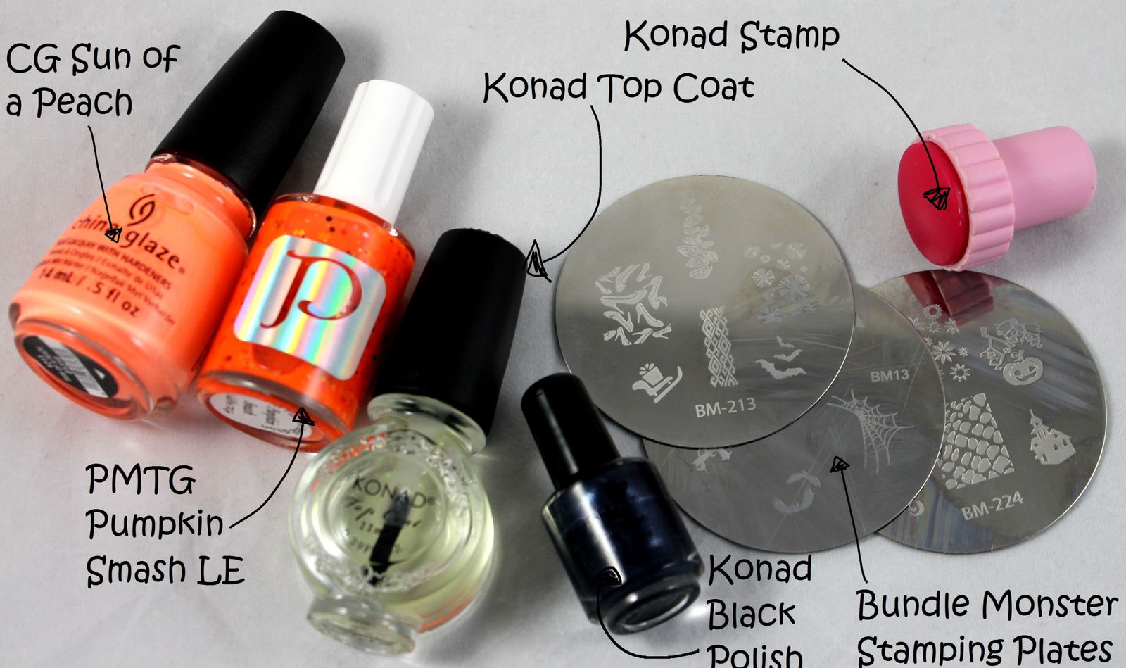 Bundle Monster Stamping Plates BM-13, BM-213 and BM-224 / Konad Black Polish / Konad Top Coat