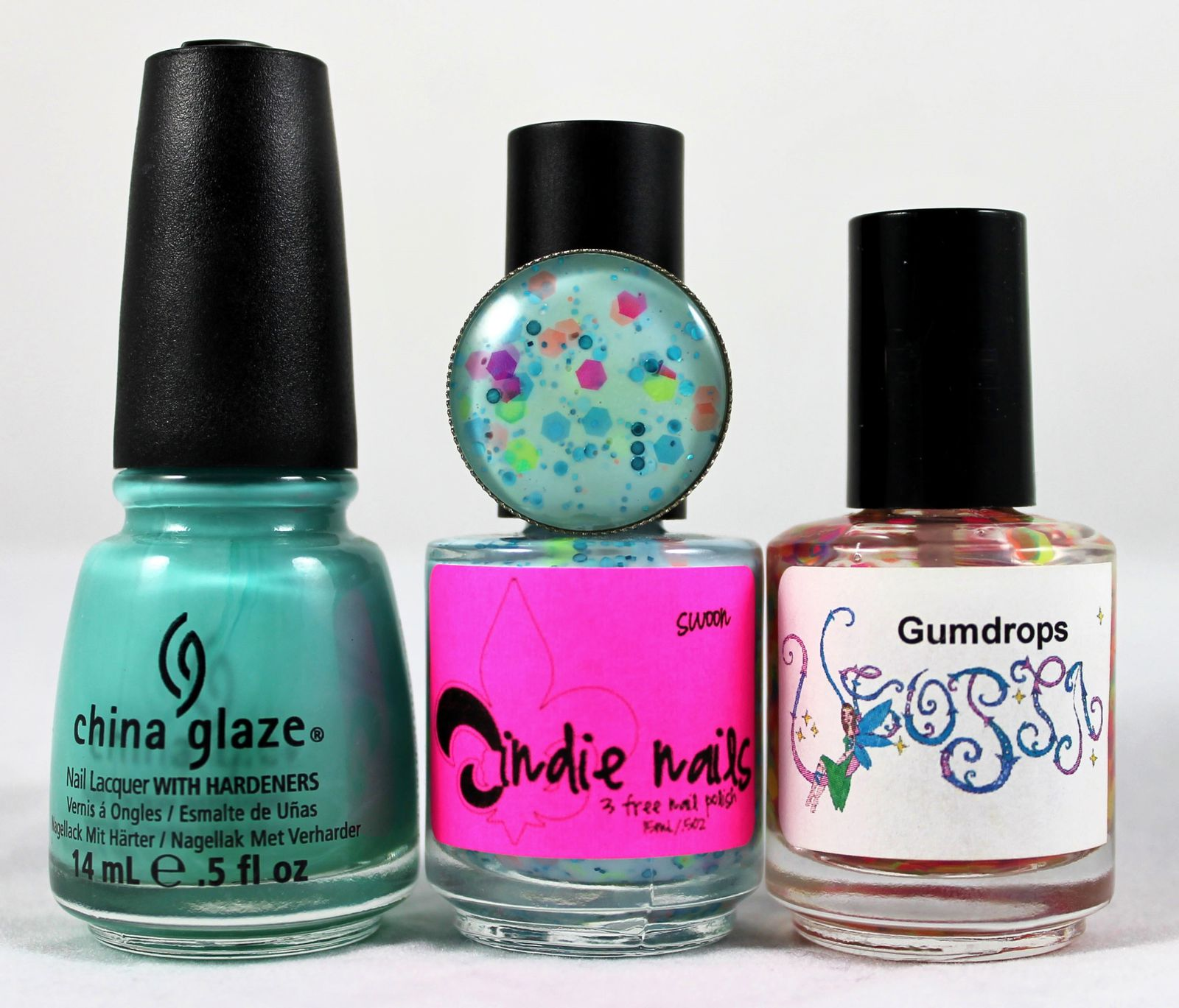 Peel-Off Base / Revlon Quick dry base coat / China Glaze Aquadelic / Jindie Nails Swoon / Utopia Gumdrops / Nail Pattern Boldness Glitter Food / Poshe Top Coat