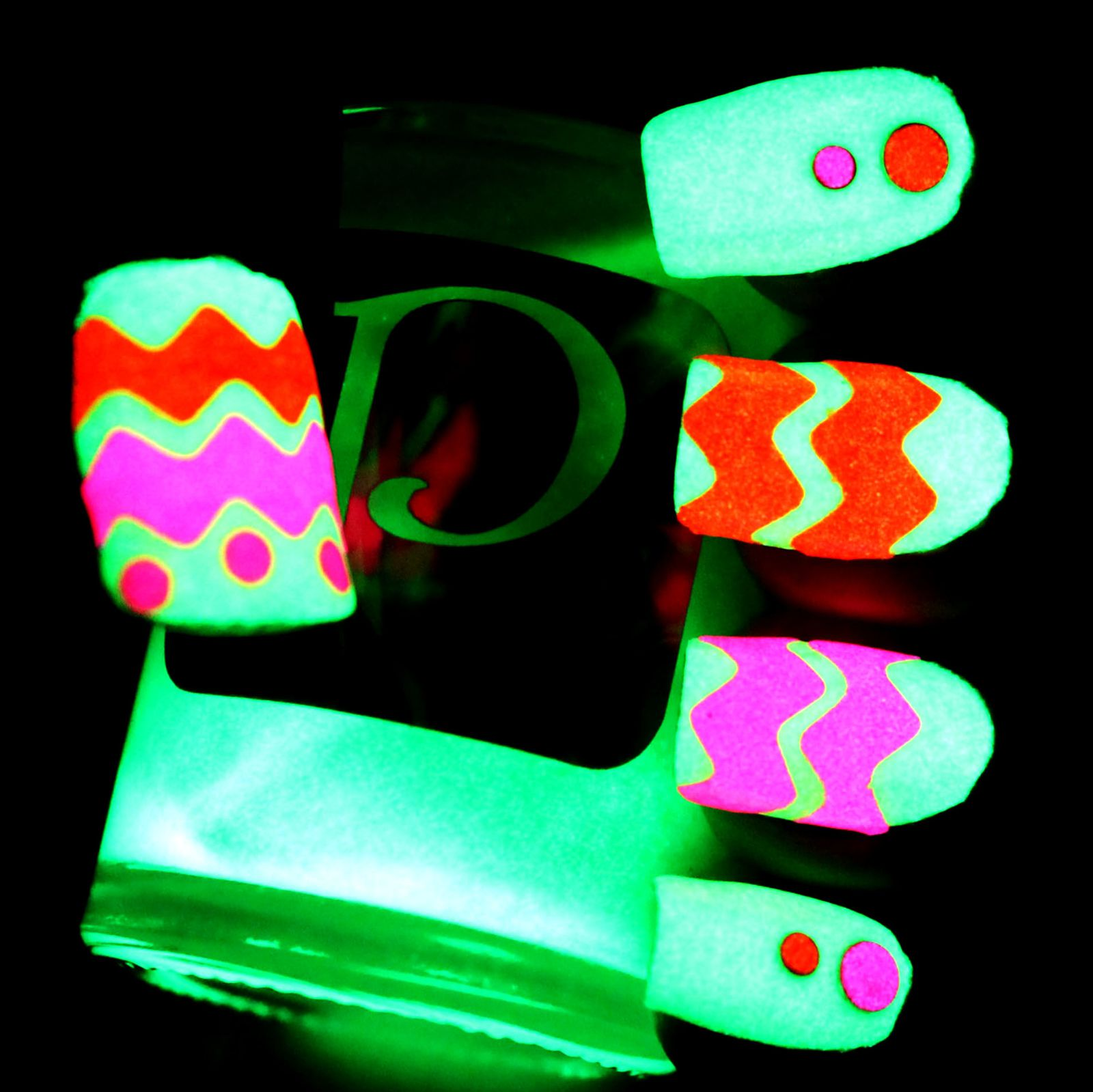 Essie Protein Base Coat / PMTG White Undies / PMTG Kiwi Sueeze / Chevrons with PolihsMeToGo Pretty Girls & Orange You Glad / PolishMeToGo Neon Studs / Konad Top Coat