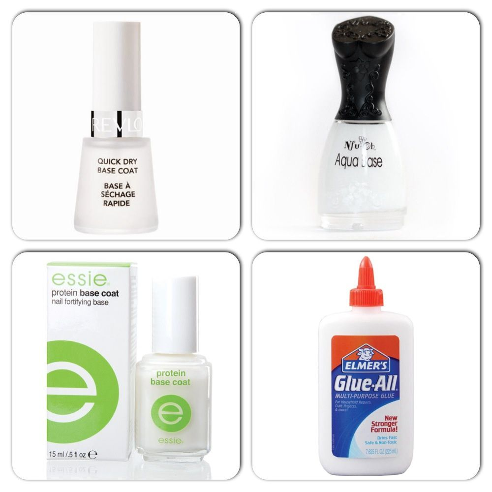 Revlon Quick Dry Base Coat / Nfu Oh Aqua Base / Essie Protein Base Coat / Glue Peel-off Base Coat