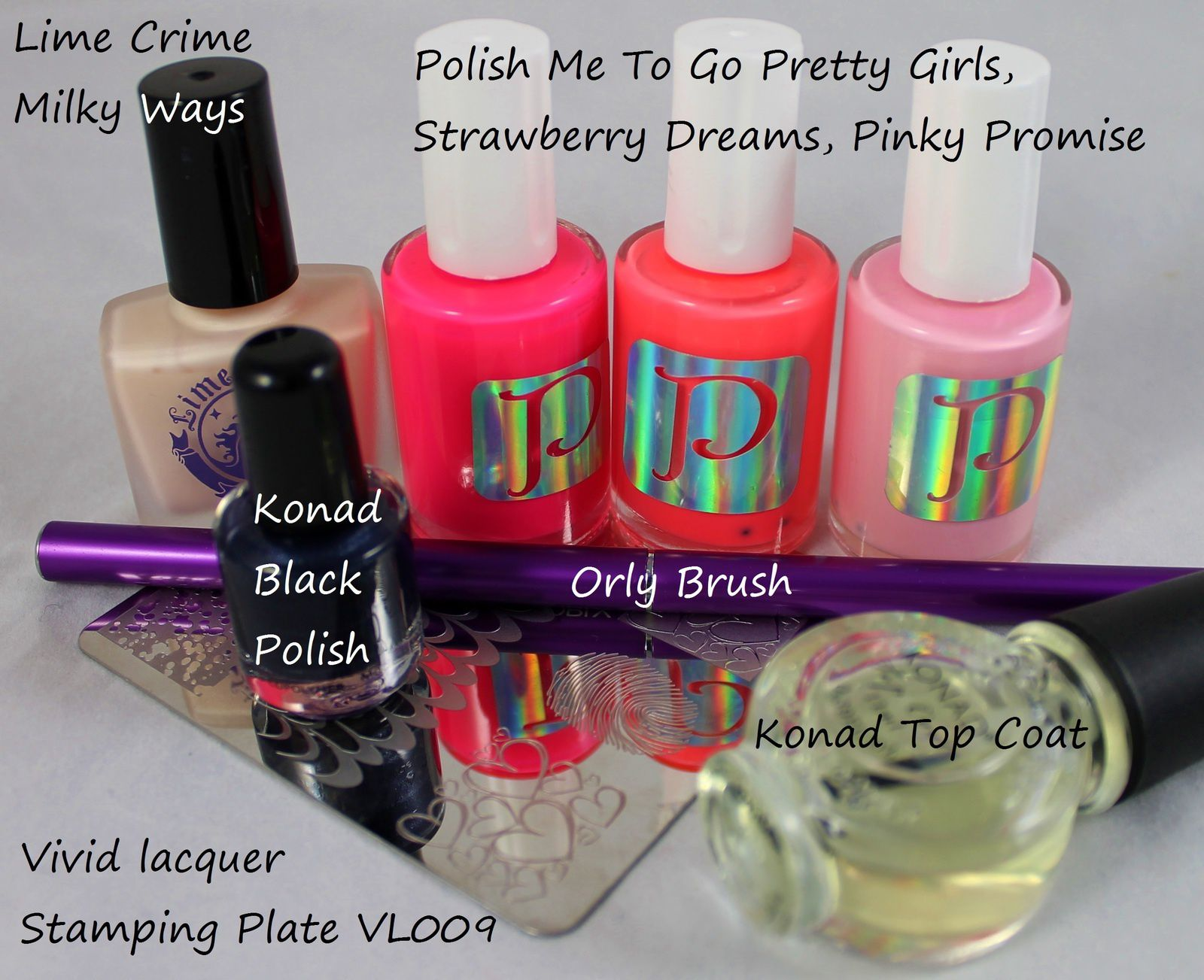Lime Crime Milky Ways / Vivid Lacquer Stamping Plate VL009 & Konad black polish / Polish Me To Go Pretty Girls, Strawberry Dreams, Pinky Promise & Orly Brush / Konad Top Coat