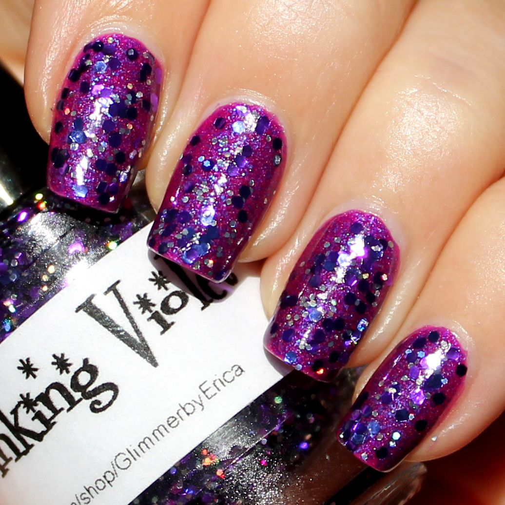Essie Protein Base Coat / Black Cat Lacquer He Loves Me Not / Glimmer By Erica Shrinking Violet / Poshe Top Coat
