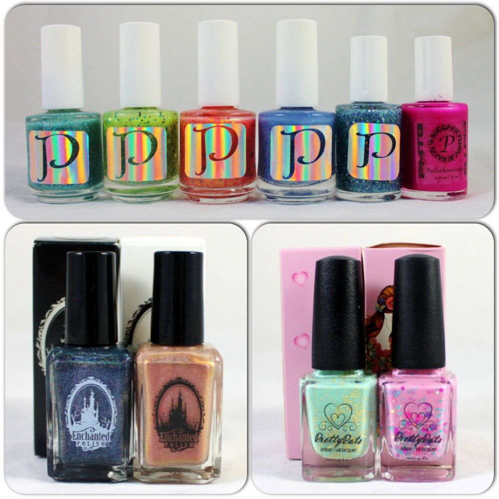 PMTG I'm a Peacock, Fuzzy Caterpillar, Watermelon Juice, Galaxia, Glow Angel, Ever After. Enchanted Polish January 2014 & December 2013. Pretty Pots Breakfast at Tiff's & Queen Bee Wannabe