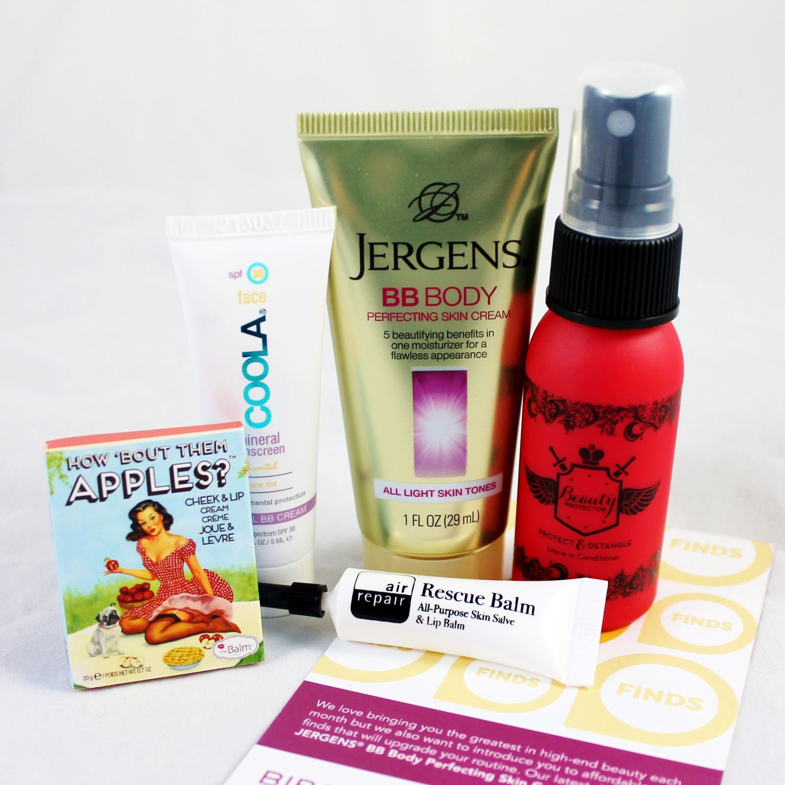 theBalm How 'Bout Them Apples?, Coola Tinted Matte SPF 30 BB cream, Air Repair Recue Balm, Jergens BB Body cream & Beauty Protector Hair leave-in conditionner
