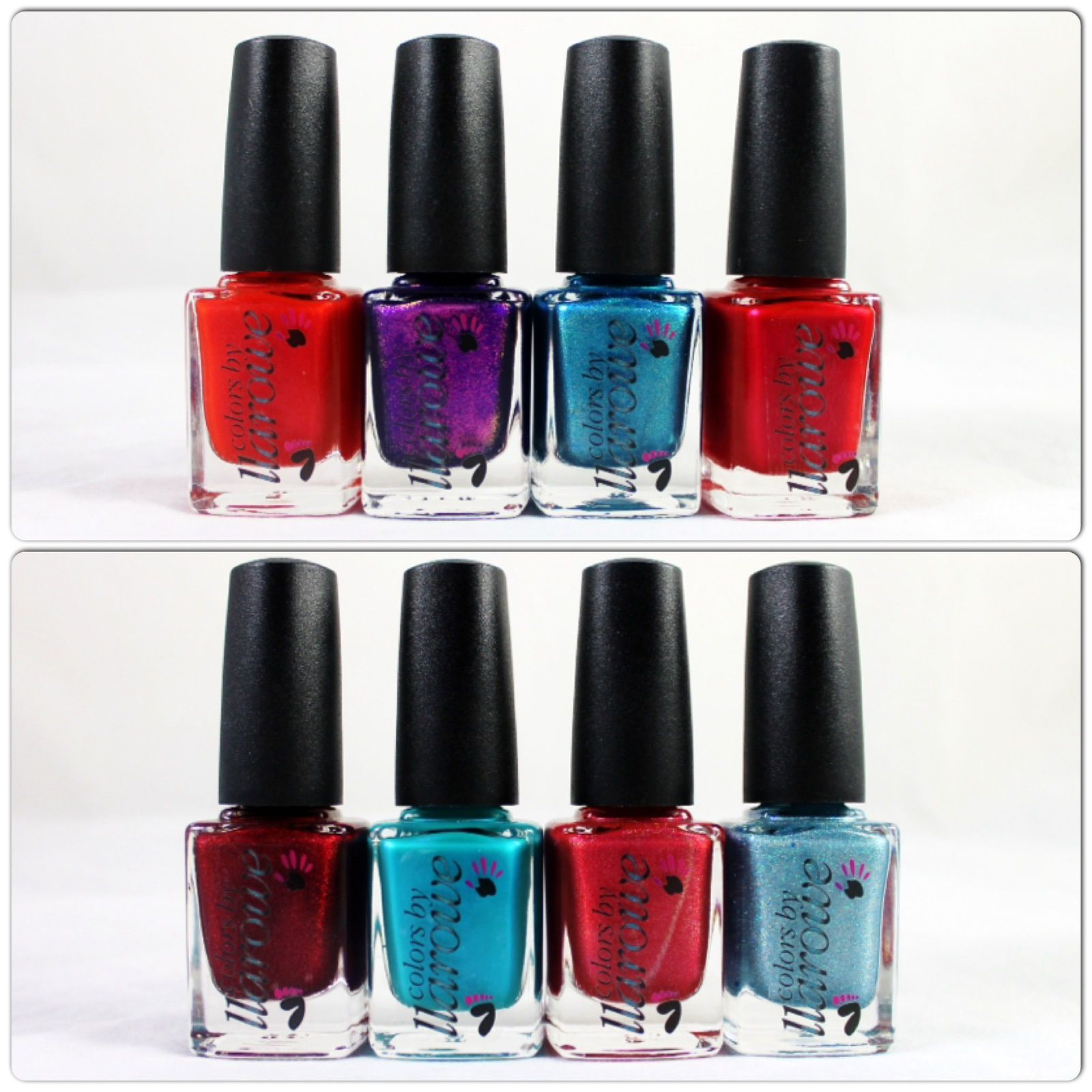Colors by Llarowe Coral Confusion, Connie you Saucy Minx, Young Turks, Julie Julie Julie, The Mighty Red Baron, Waters of Belize, Lucy I'm Home! & Shimmering Waters.