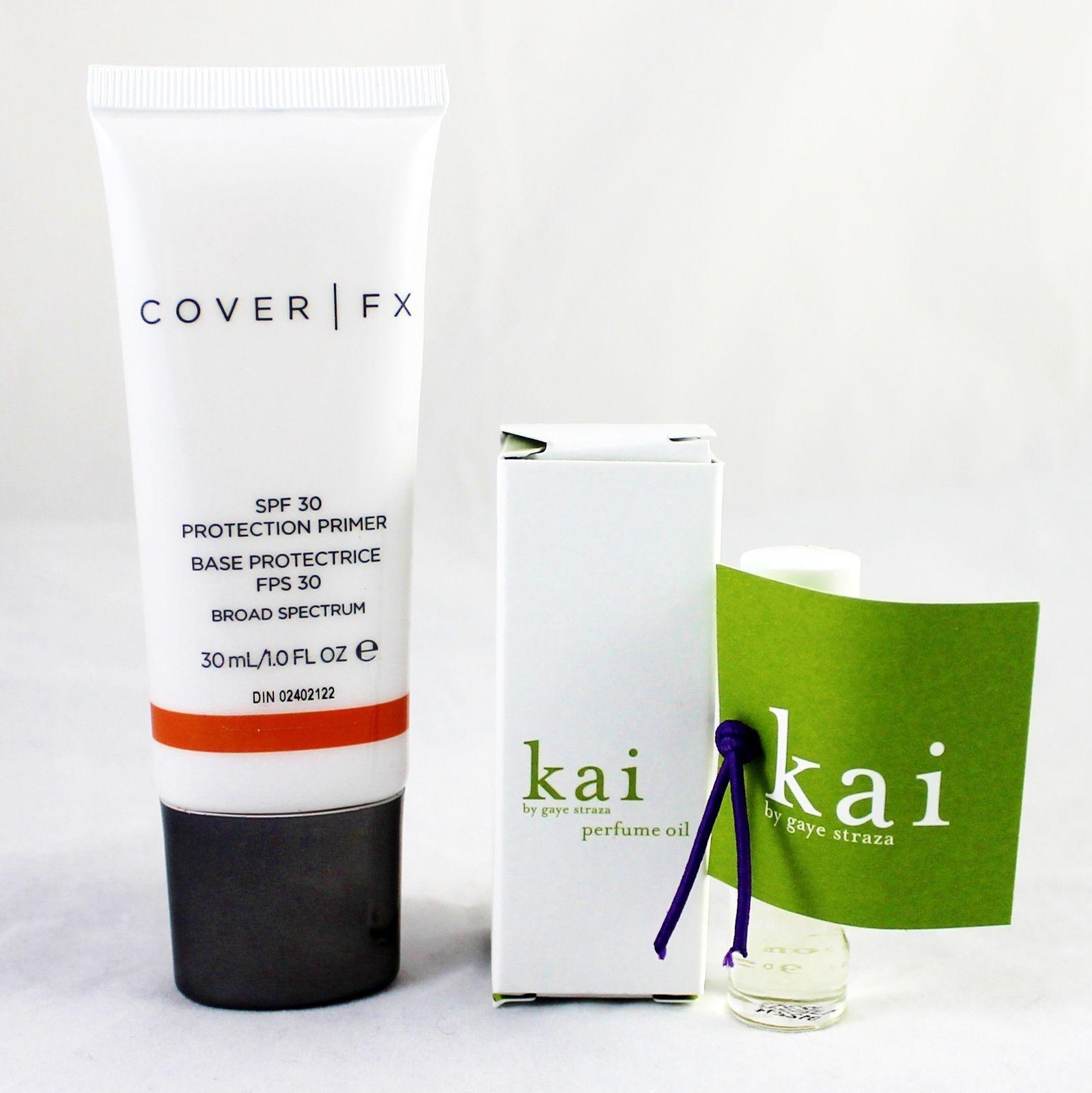 Cover FX SPF 30 Protection Primer & Kai Perfume Oil.