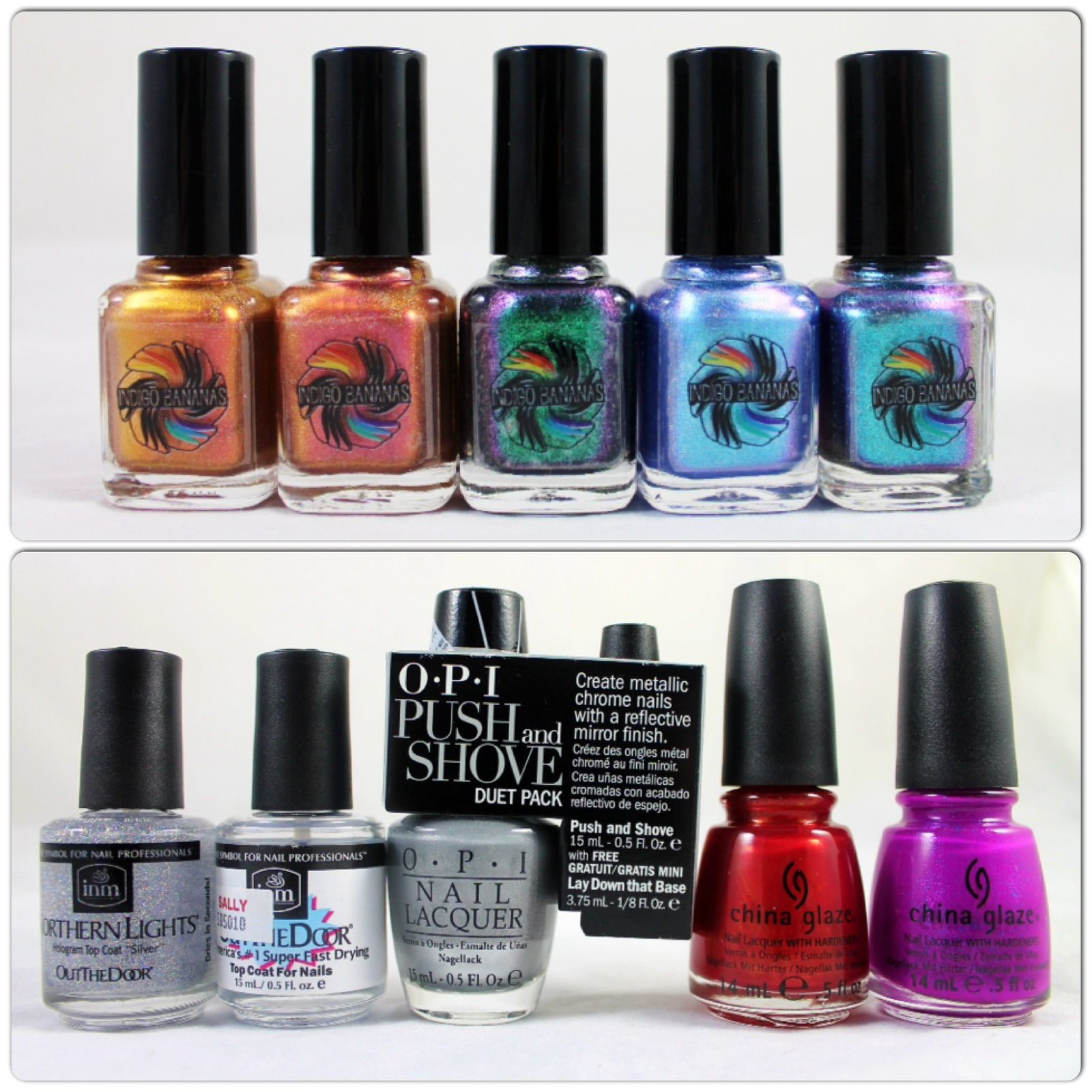 Indigo Bananas Son of Fire, A Thousant Dreams, Anansi, Maui Wowee & Maui. OutTheDoor Holographic and normal Top coat, OPI Push & Shove, China Glaze Go Crazy Red & Flying Dragon.