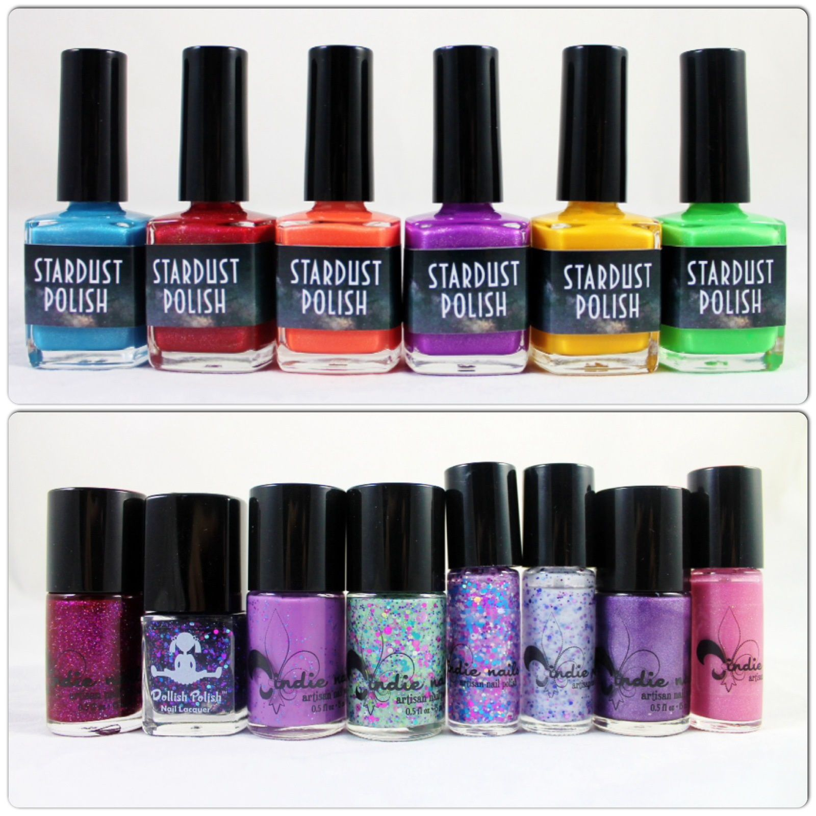 Stardust Polish Cloud 9, Yes Your Majesty, Back to the Beach, Summer Kisses, Sun Drops & Morning Dew. Jindie Nails Phone, Keys, Polish, Check! Romeo & Juliet collab with Dollish Polish, Princess Breath, Taste Like Snozberries, Re-Fresh to Death, Sippin' on Jindie Juice & Pink Stilettos.