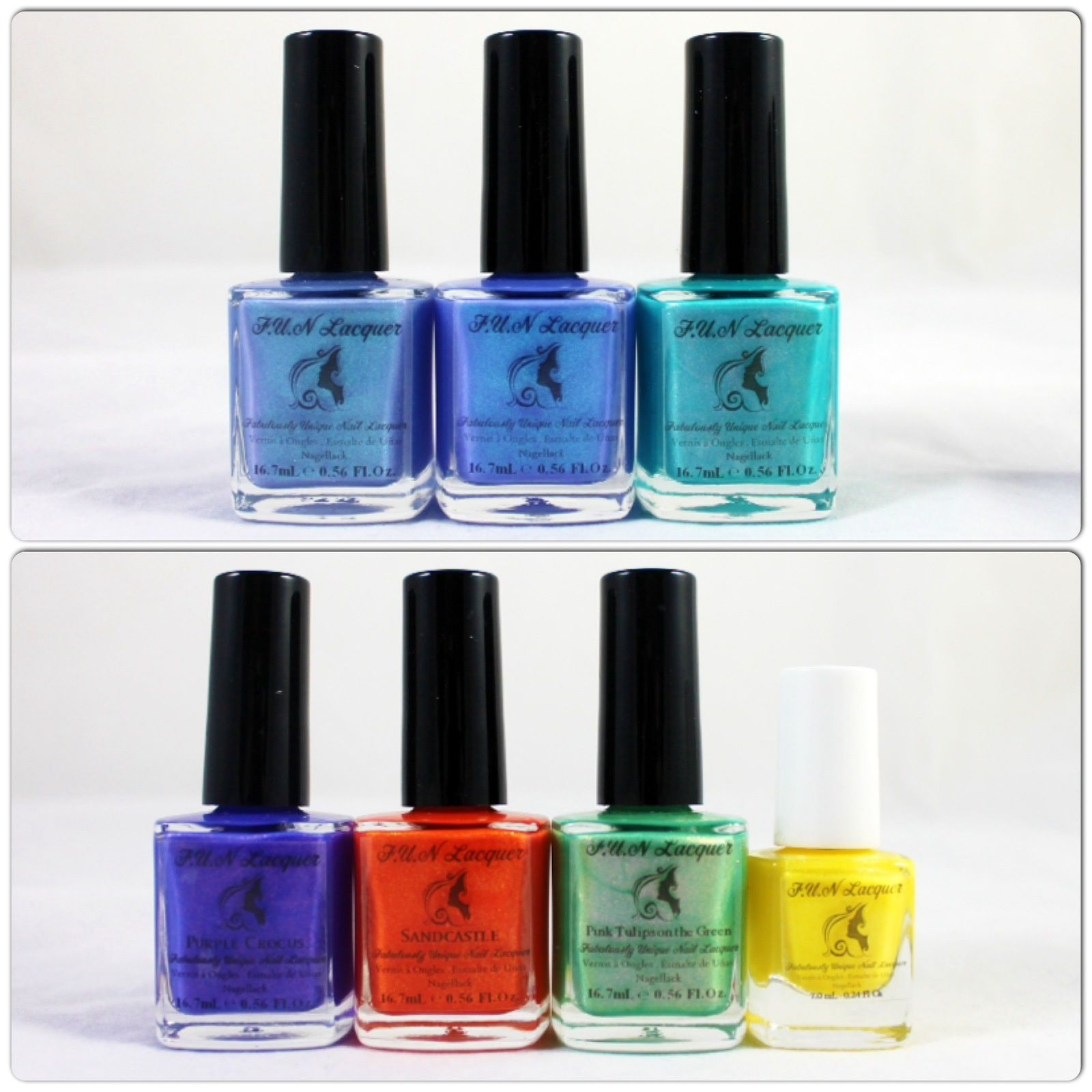 Fun Lacquer French is FUN (H), French is FUN, beautiful Mistake, Purple Crocus, Sandcastle, Pink Tulips on the Green & Wishing Star.