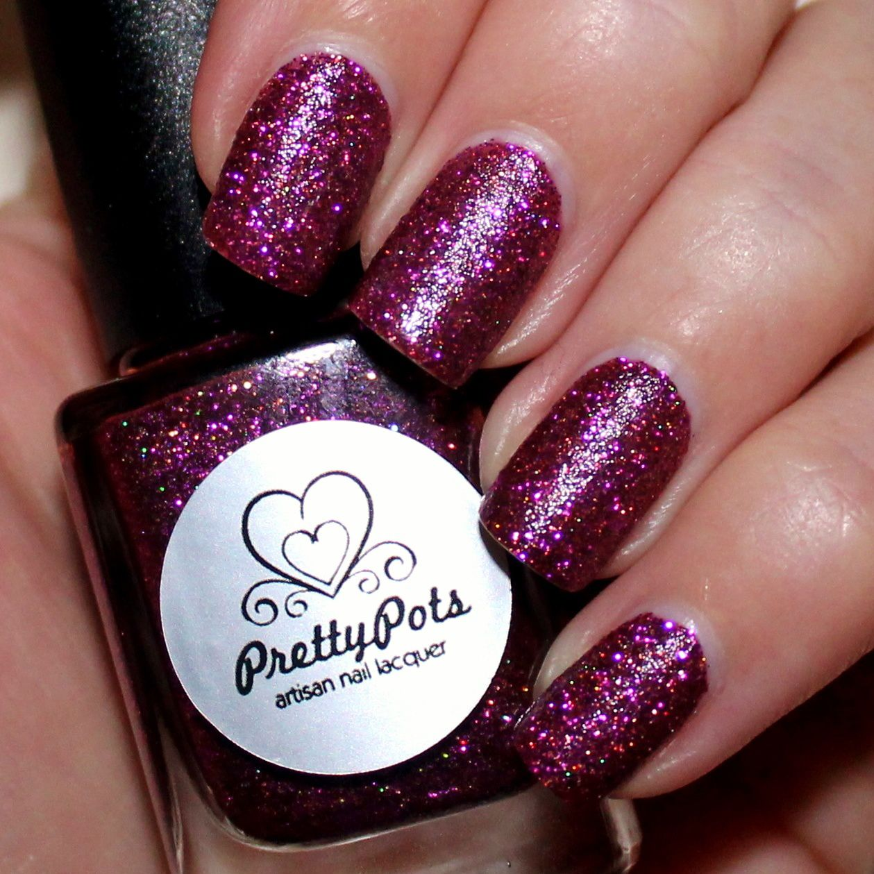 Dance Legend Peel-off base coat / Pretty Pots Polish Sparkly Tempest / OutTheDoor top coat