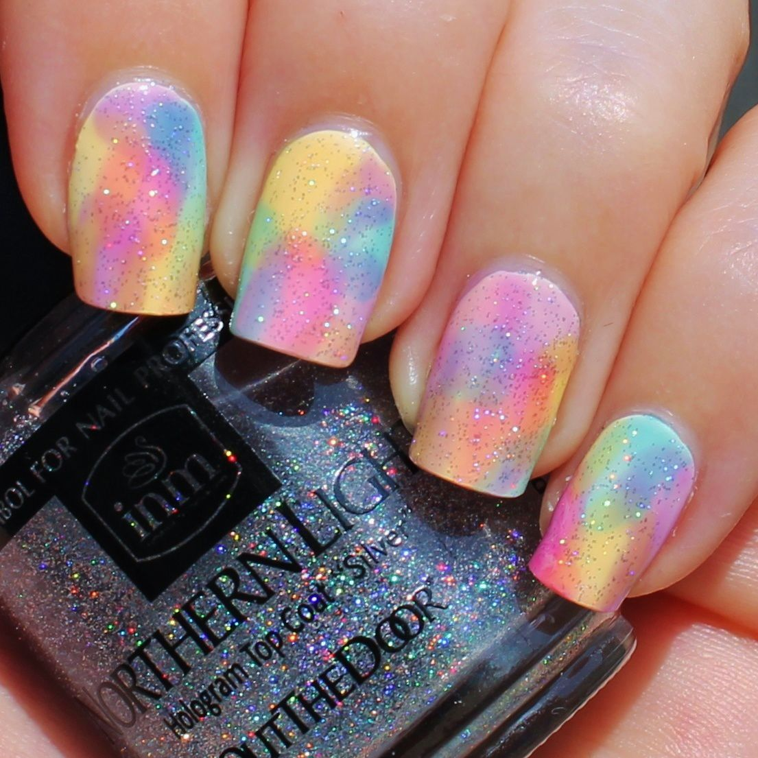 Essie Protein Base Coat / Fresh Paint Coconut / OPI Sheer Tints / Northern Lights Holographic Top Coat