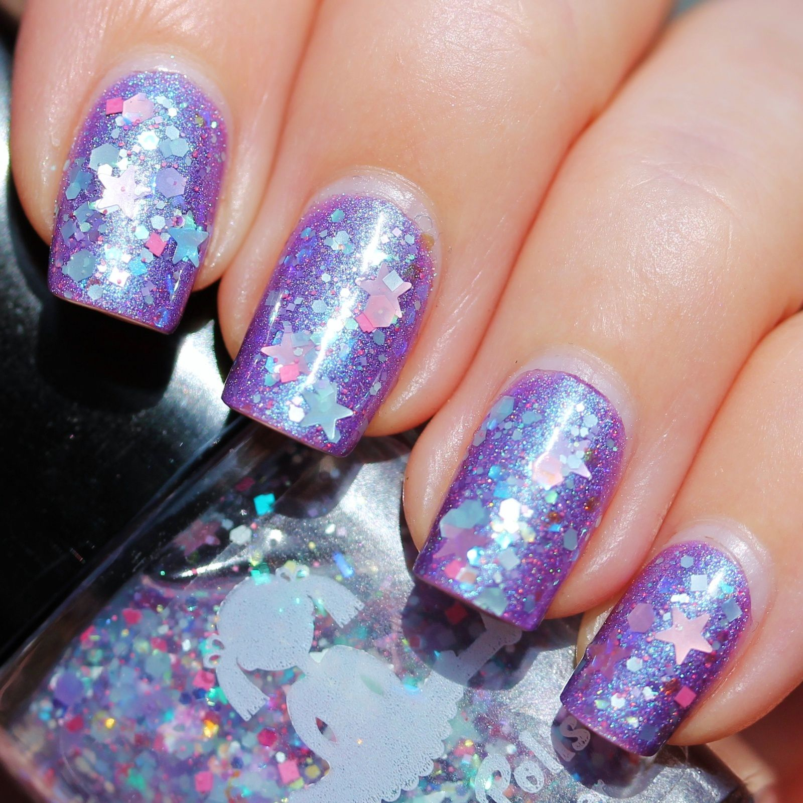 Nfu Oh Aqua Base / Loki's Lacquer Divine Light / Dollish Polish Care Bear Stare / Poshe Top Coat