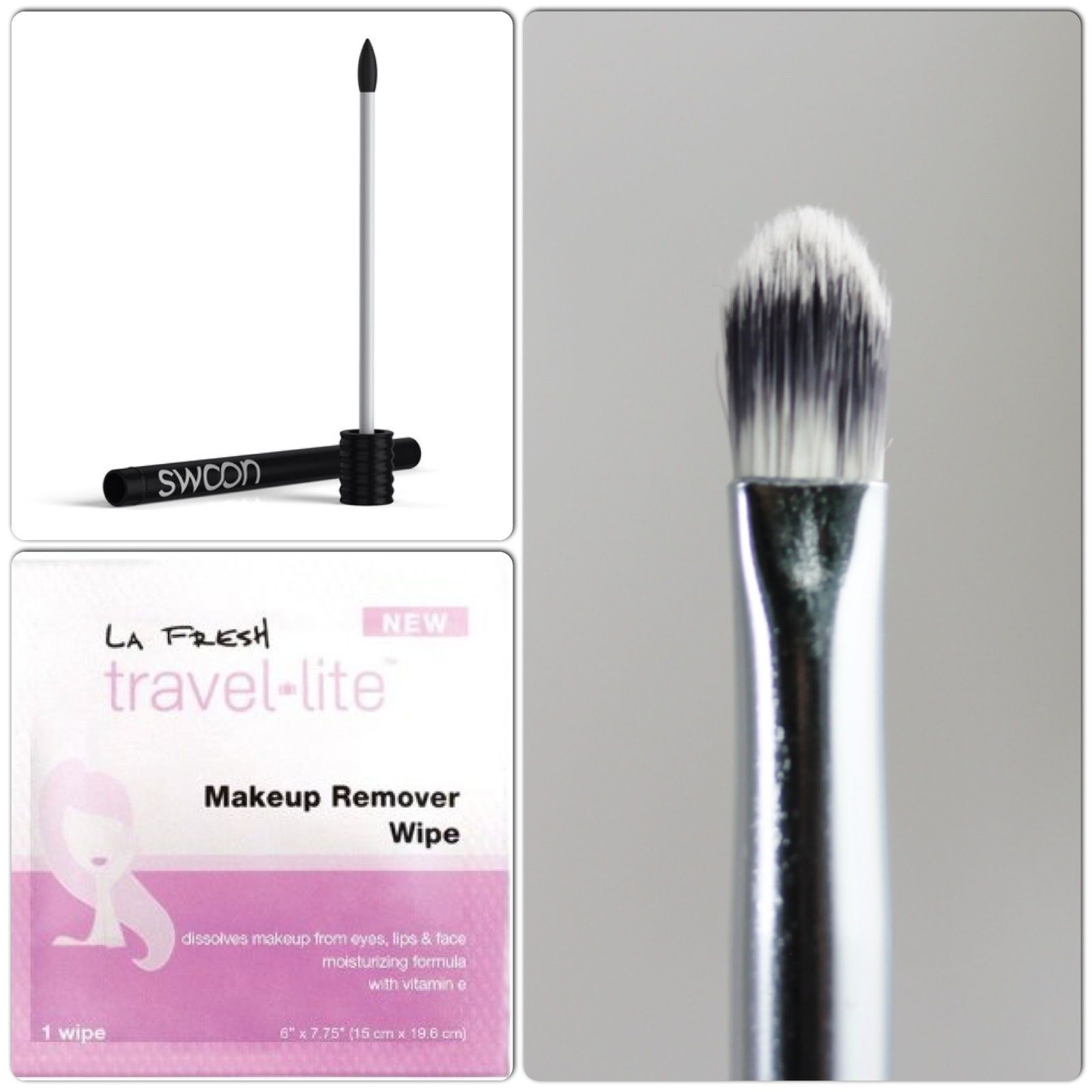 La Fresh Lip/Eye Makeup Remover Packette, Swoon Lip Gloss Reusable Wand, Crown Brush Lip Liner Brush