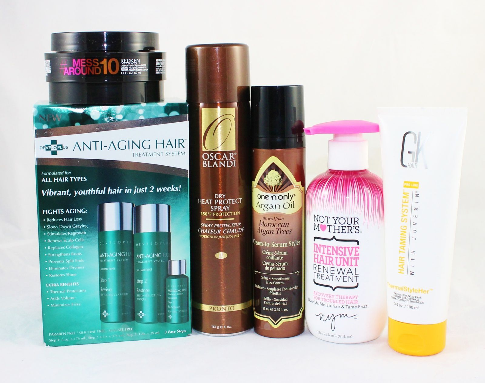 Redken Mess Around 10 Disrupting Cream-Paste, Developlus Anti-aging Hair Treatment System, Oscar Blandi Pronto Dry Heat Protect Spray, One'n Only Argan Oil Cream-to-Serum Styler, Not Your Mother's Intensive Hair Unit Renewal Treatment & GK Hair ThermalStyleHer