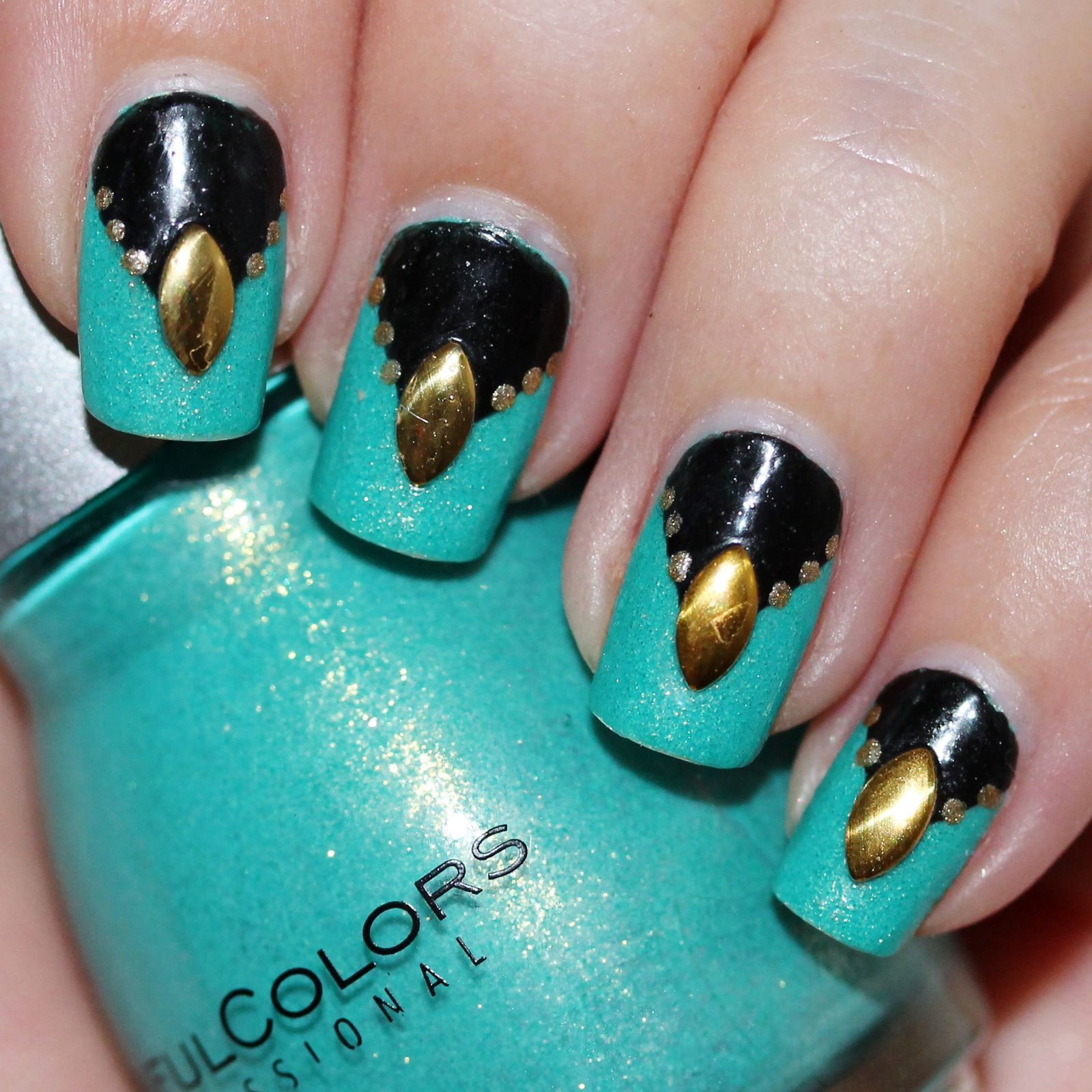Essie Protein Base Coat / Sinful Colors Treasure Chest / Nail Pattern Boldness Glitter Food / Baltimore Ravens NFL Black Nail Polish / Color Club Disco Nap & Dotting Tool / BornPrettyStore Studs / OutTheDoor Top Coat