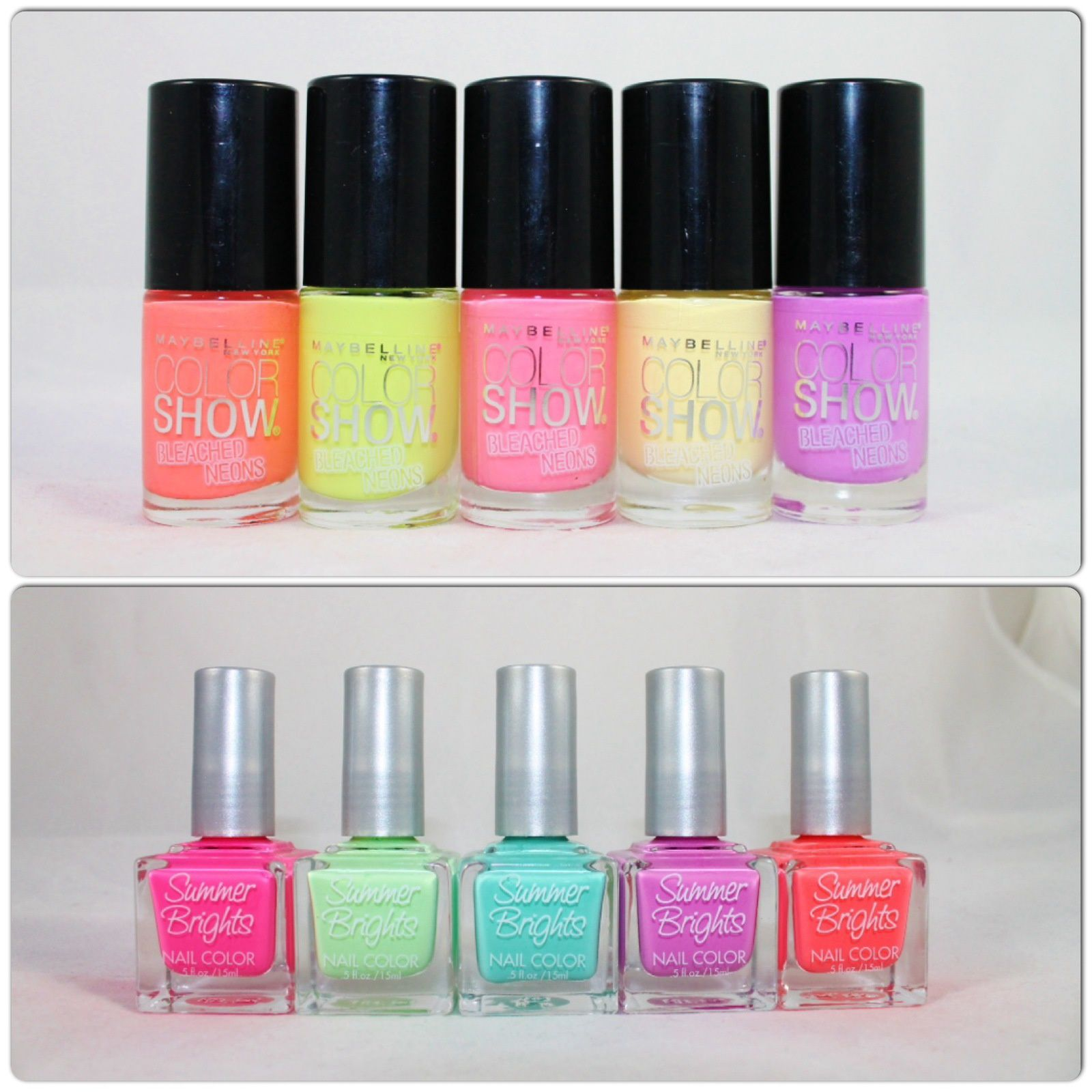 Maybelline Bleached Neons (Coral Heat, Lime Accent, Pink Punch, Citrus Collide & Ultra Violet) Summer Bright Nail Color (Pink, Green, Turquoise, Violet & Coral)