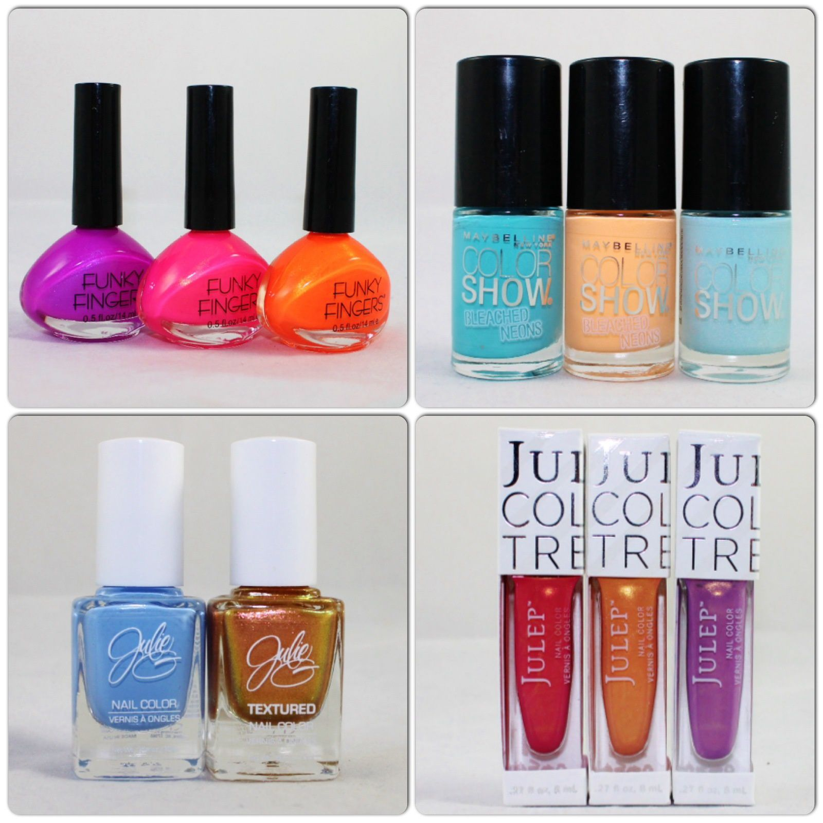 Funky Fingers BPM, All The Rave, Drop the Bass. Maybelline Bleached in Peach, Day Glow Teal, Frozen Over. Julie G Santorini, Golden Sunset. Julep Laree, Saaya, Paulette.