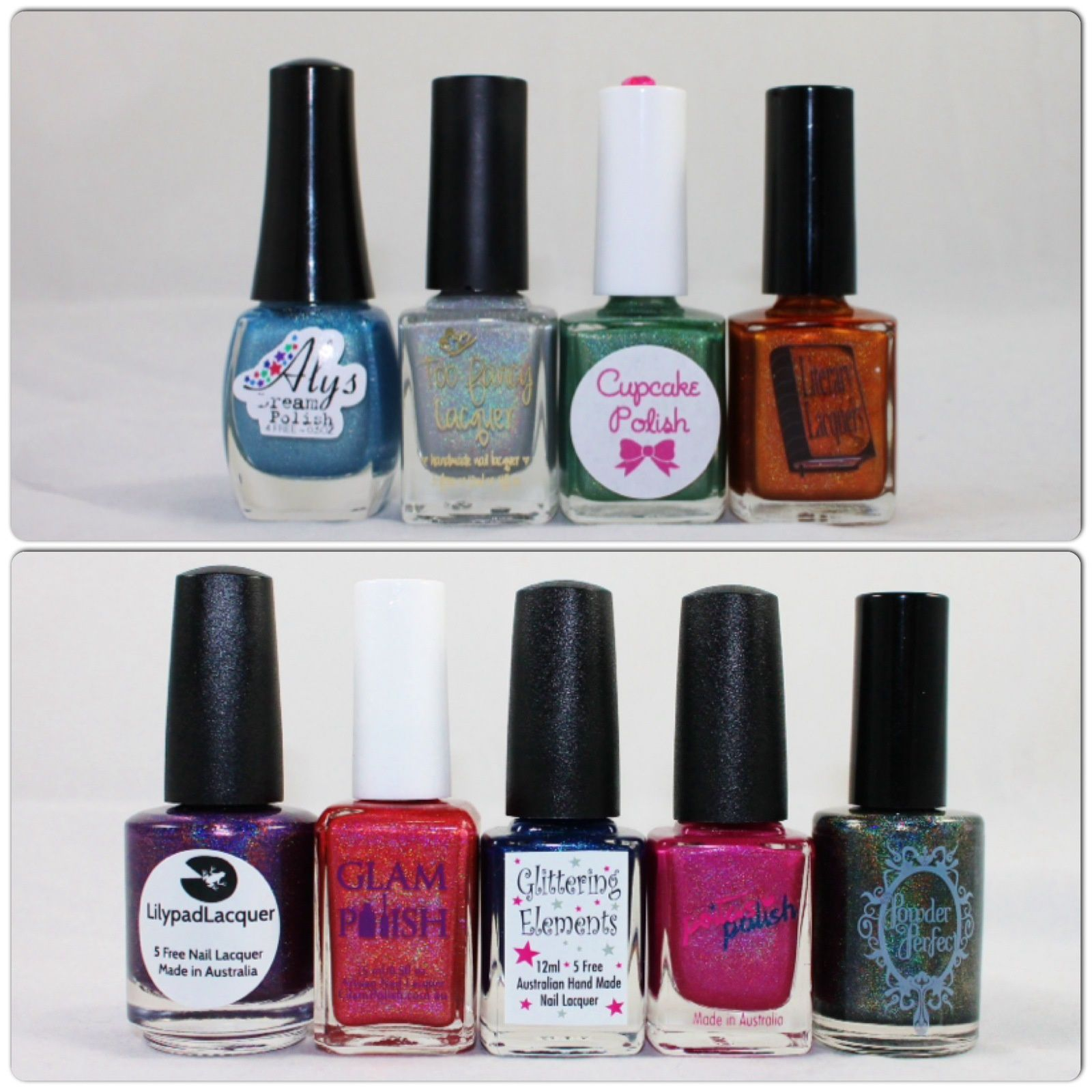 Dazzled Holograil May 2014 (Aly's Dream Polish H2whOa, Too Fancy Lacquer Pixie Wisper, Cupcake Polish Earth Girl, Literary Lacquer Not Up Close). What's Indie Box June 2014 (Lilypad Lacquer Violet Blaze, Glam Polish Don't Make Me Blush, Glittering Elements Queen of the Mermaids, Peita's Polish Pink Blitz, Powder Perfect Party in the Park).