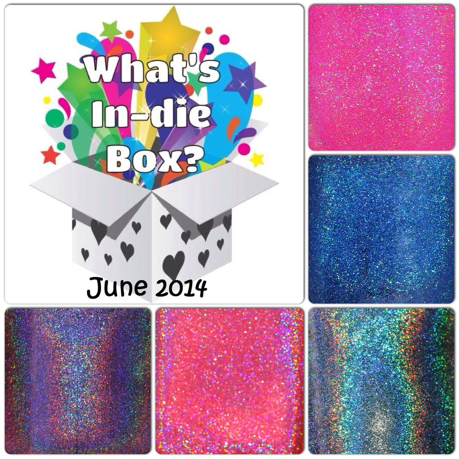 What's Indie Box June 2014 - 1st Anniversary Holo - Polish macros & inspiration pictures.