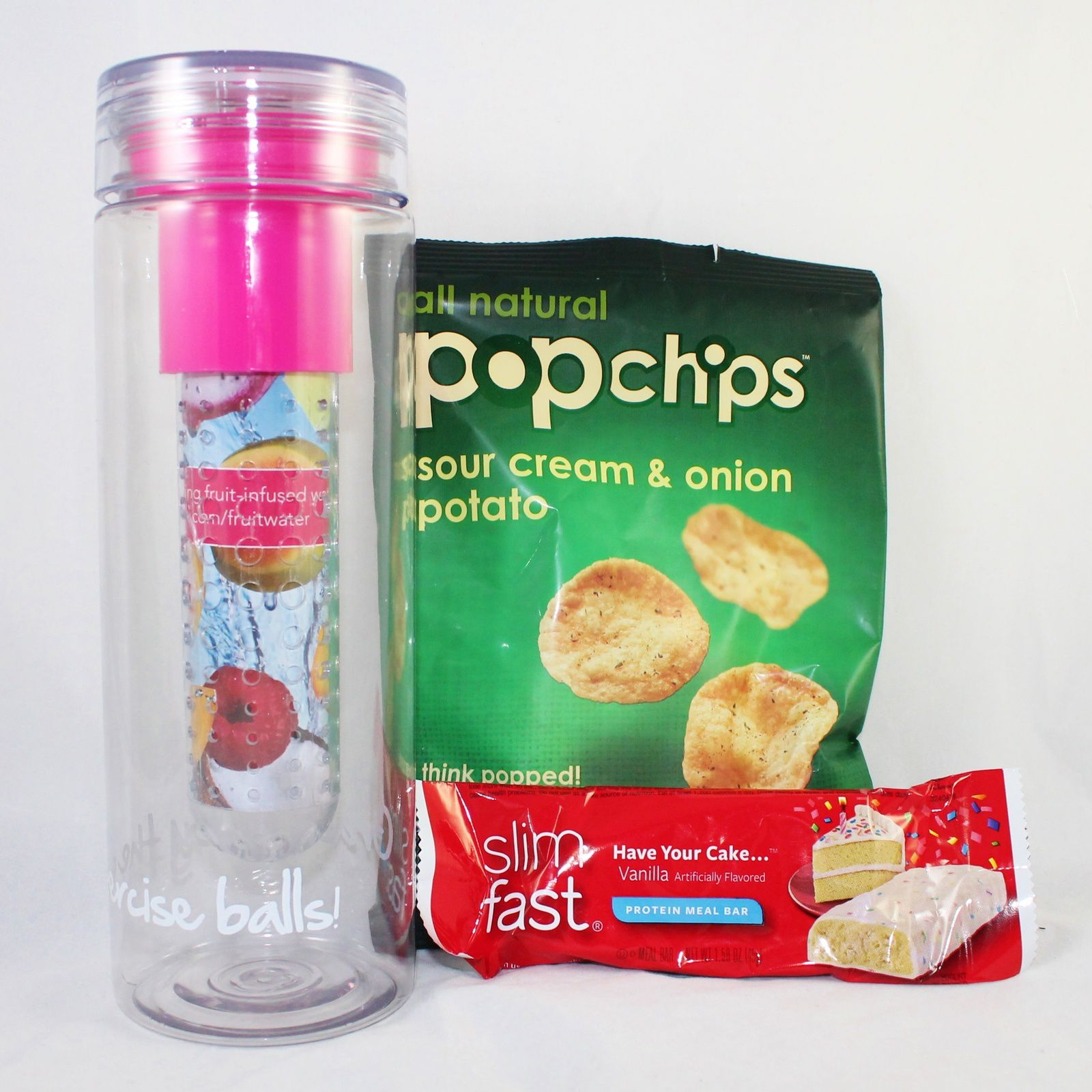 FabFitFun Water Infuser BPA-free Water Bottle ($15), POPchips ($1), Slimfast Have Your Cake Meal Bar ($1)