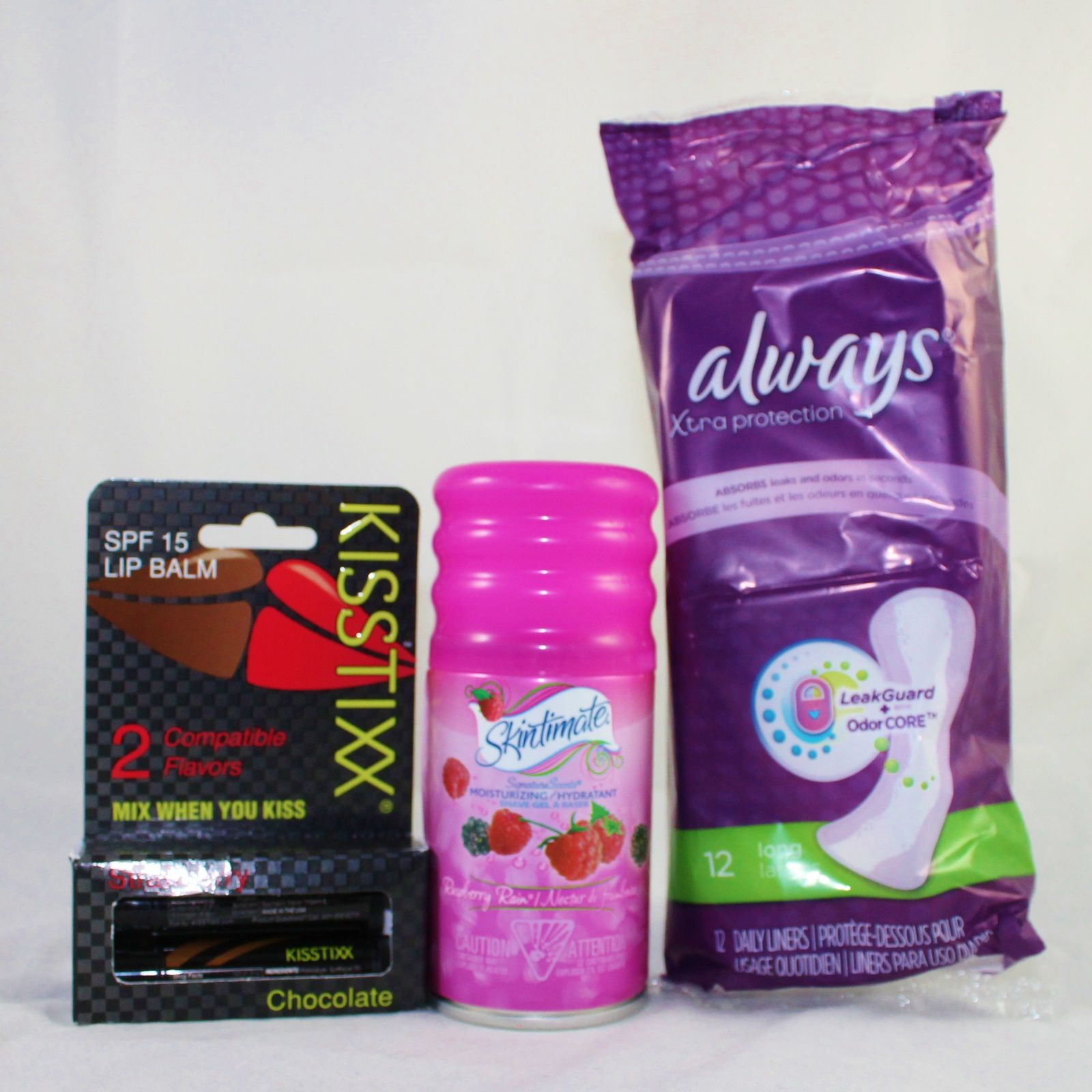 KISSTIXX Lip Balms ($6), Skintimate Shave Gel ($2), Always Xtra protection Long Daily Liners ($1.5)