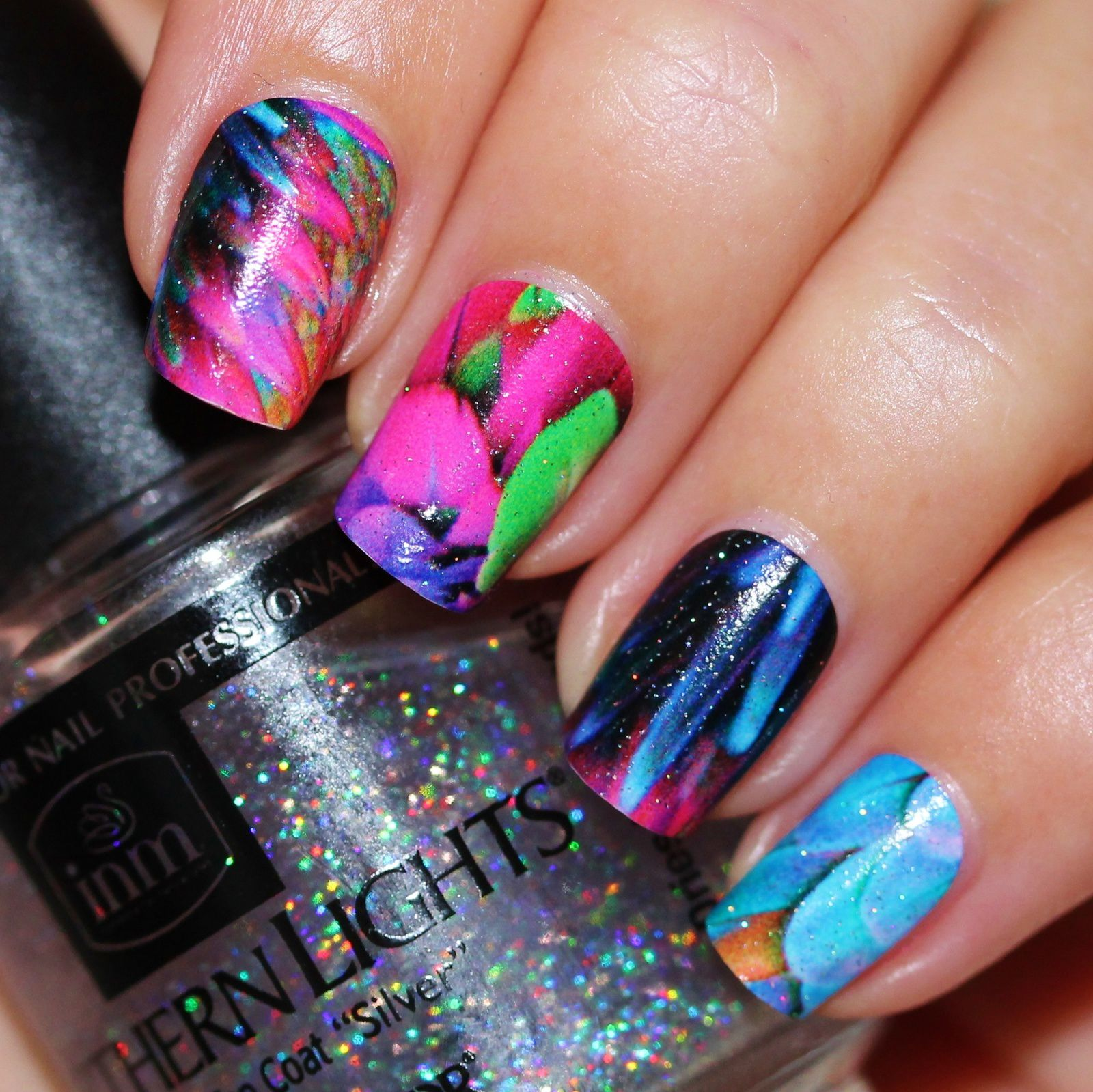 Essie Protein Base Coat / ncLA Nail Wraps Birds of Paradise / Northern Lights Top Coat