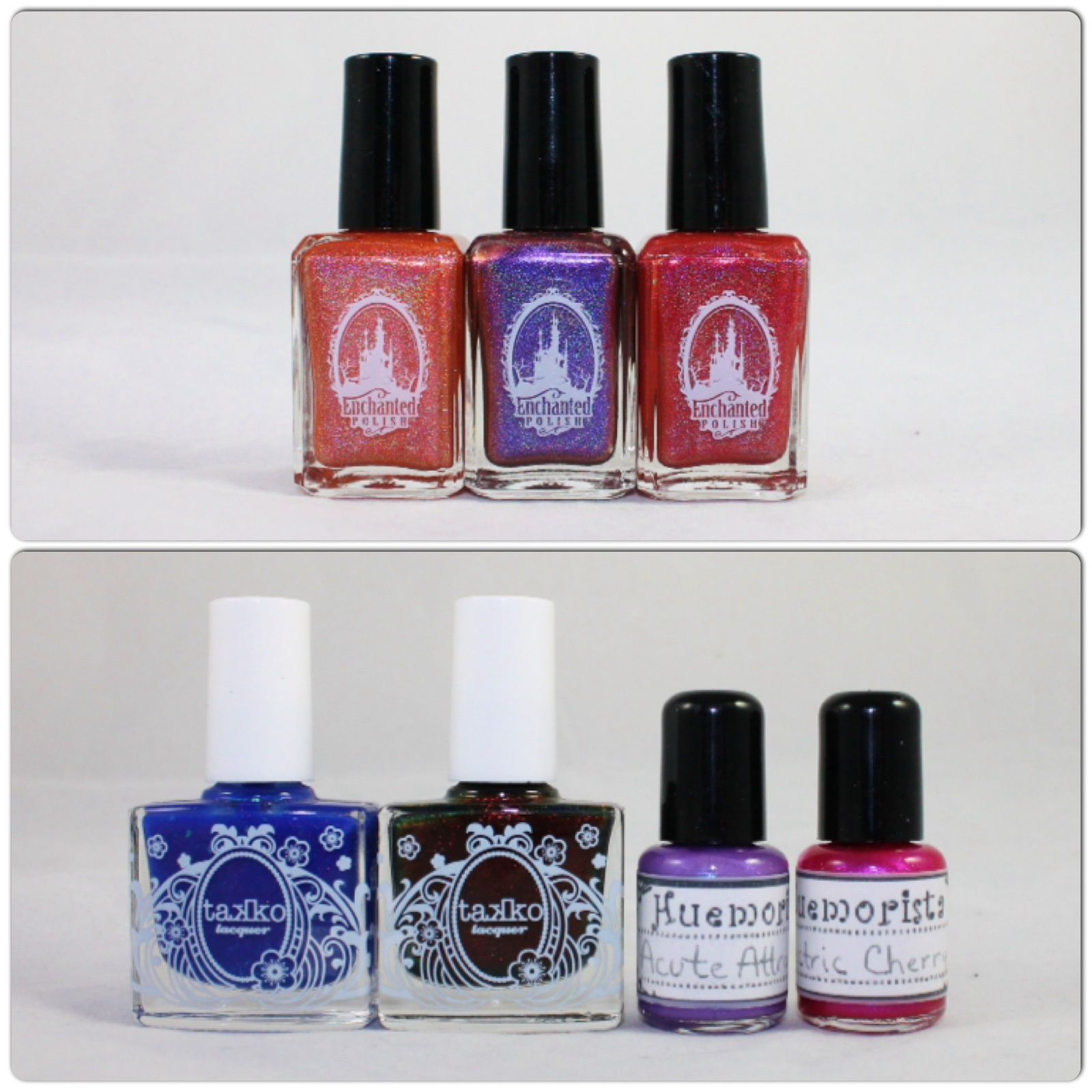 Enchanted Polish May 2014, June 2014 & july 2014. Takko lacquer We're all Mad Here & Opium. Huemorista Acute Attraction & Electric Cherry