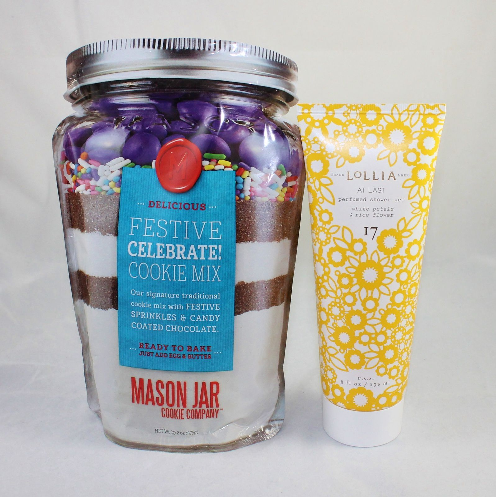 The Mason Jar Company Cookie Mix in a Soft Jar Pouch & Lollia At Last Perfumed Shower Gel